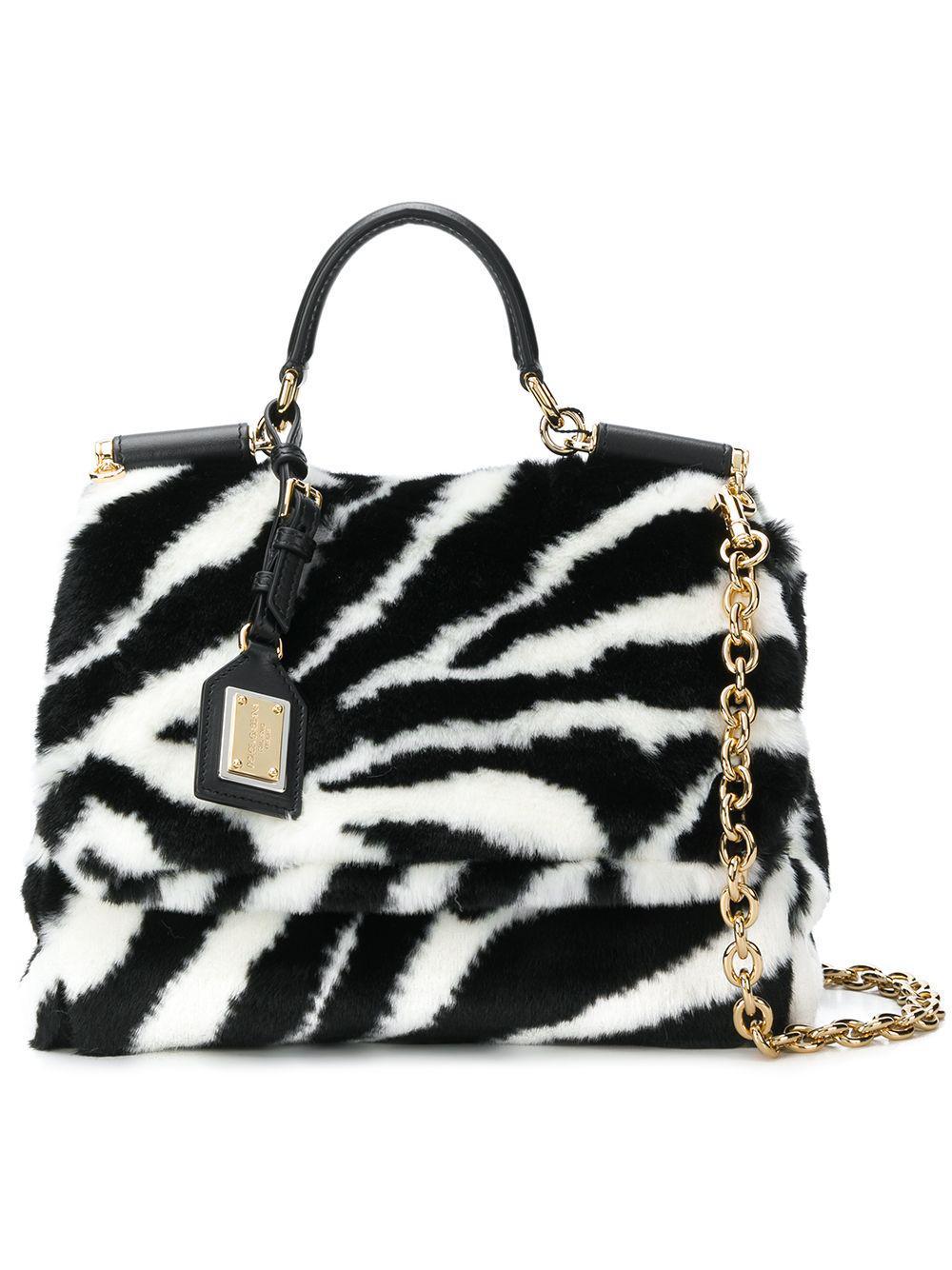 5a7fd6d3f1 Dolce   Gabbana Miss Sicily Zebra Print Fur Handbag in White - Lyst