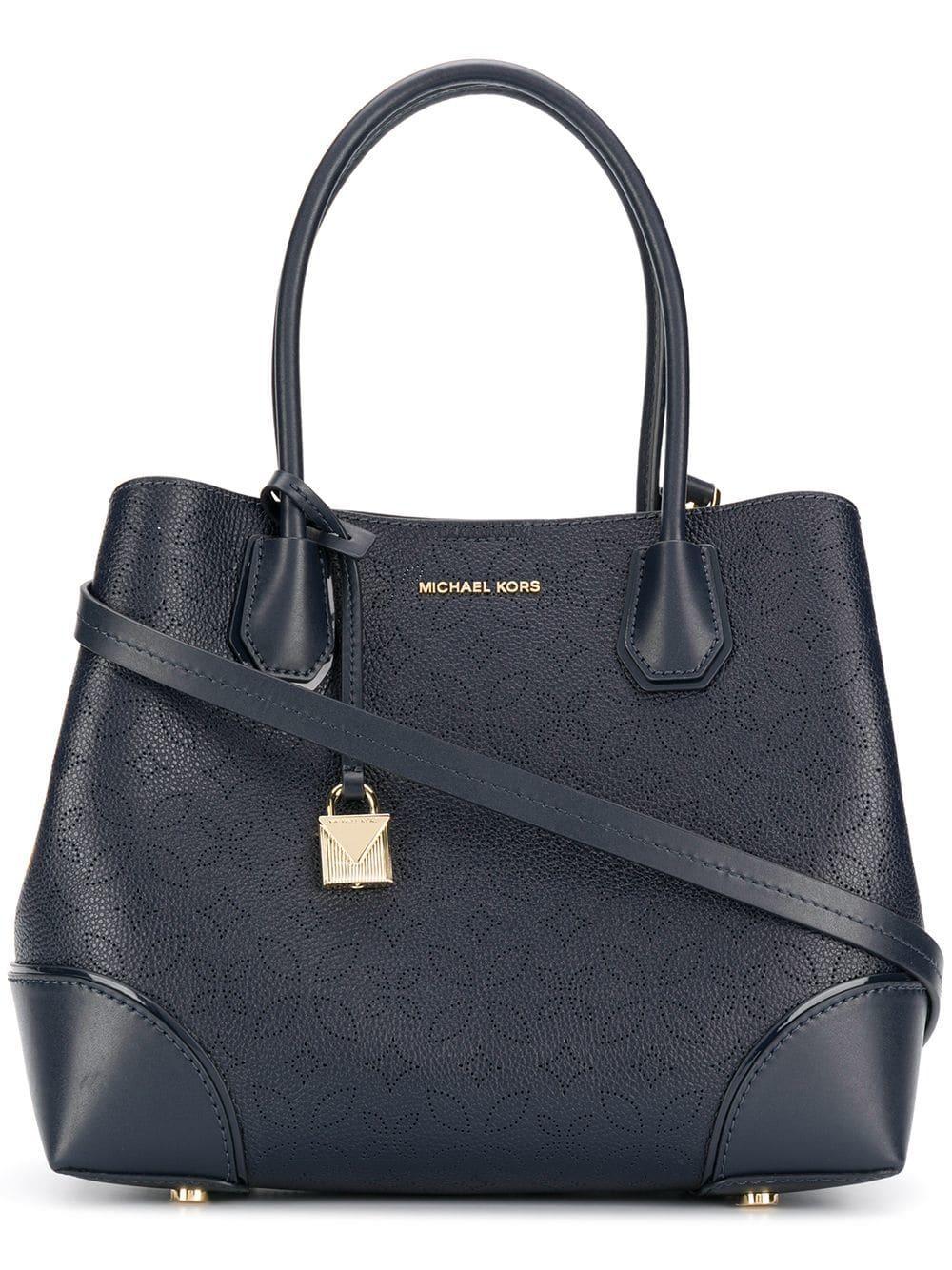 c37a3b2f32bb76 Lyst - MICHAEL Michael Kors Mercer Gallery Leather Shoulder Bag in Blue