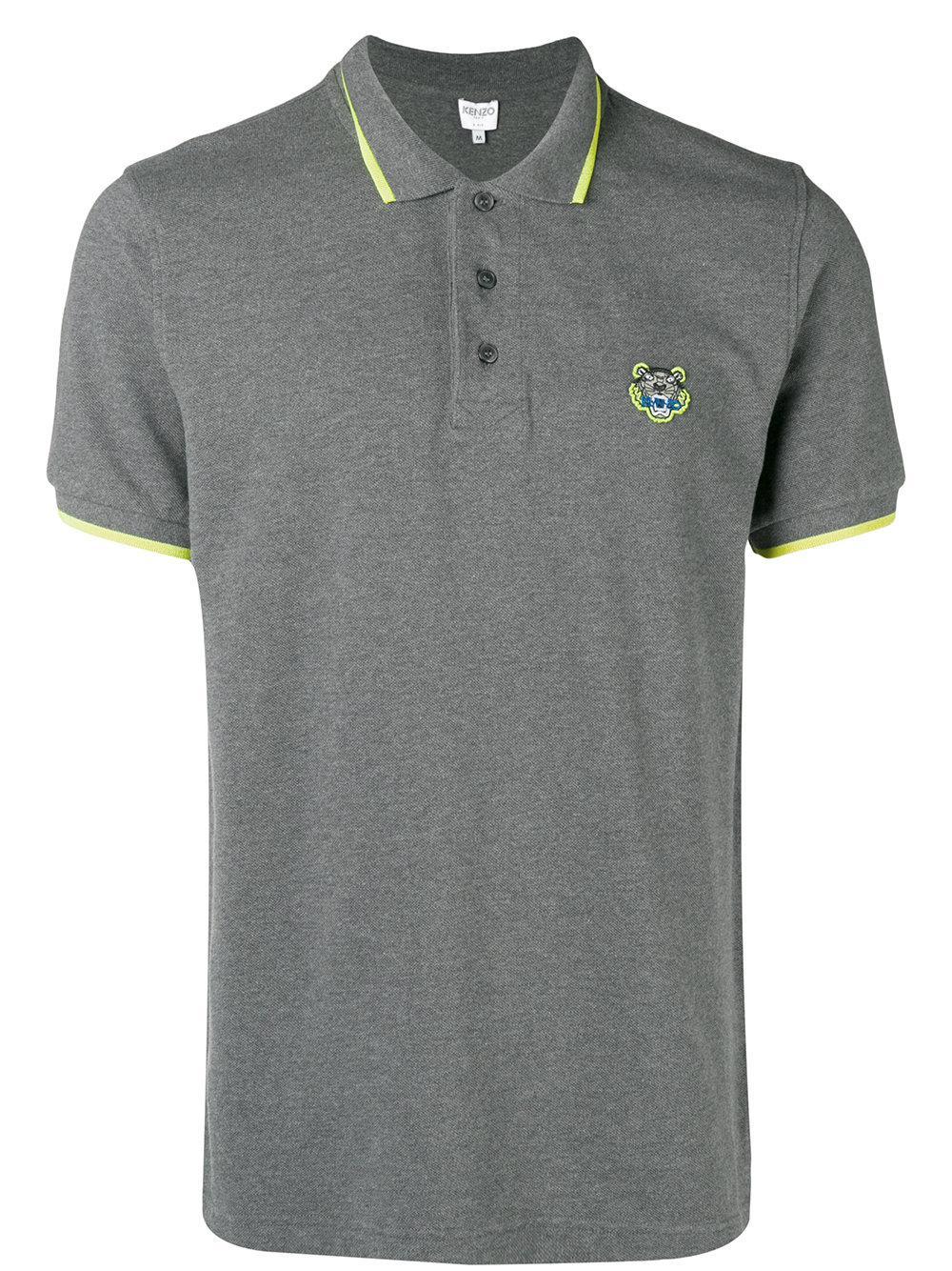 e9fd0555 Kenzo Tiger Print Cotton Polo in Gray for Men - Lyst