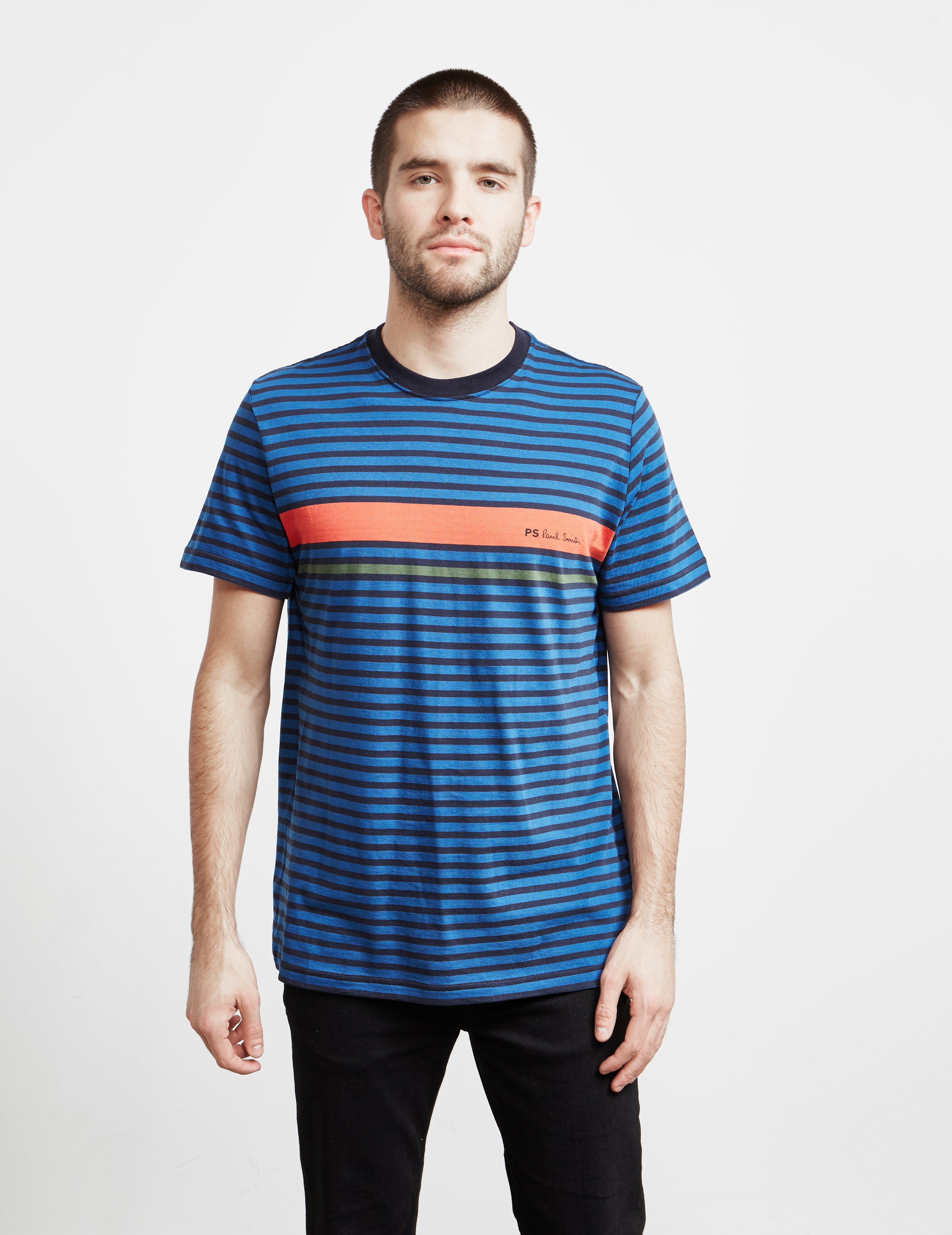 b7493870c9 Lyst - Ps By Paul Smith Mens Stripe Logo Short Sleeve T-shirt Navy ...