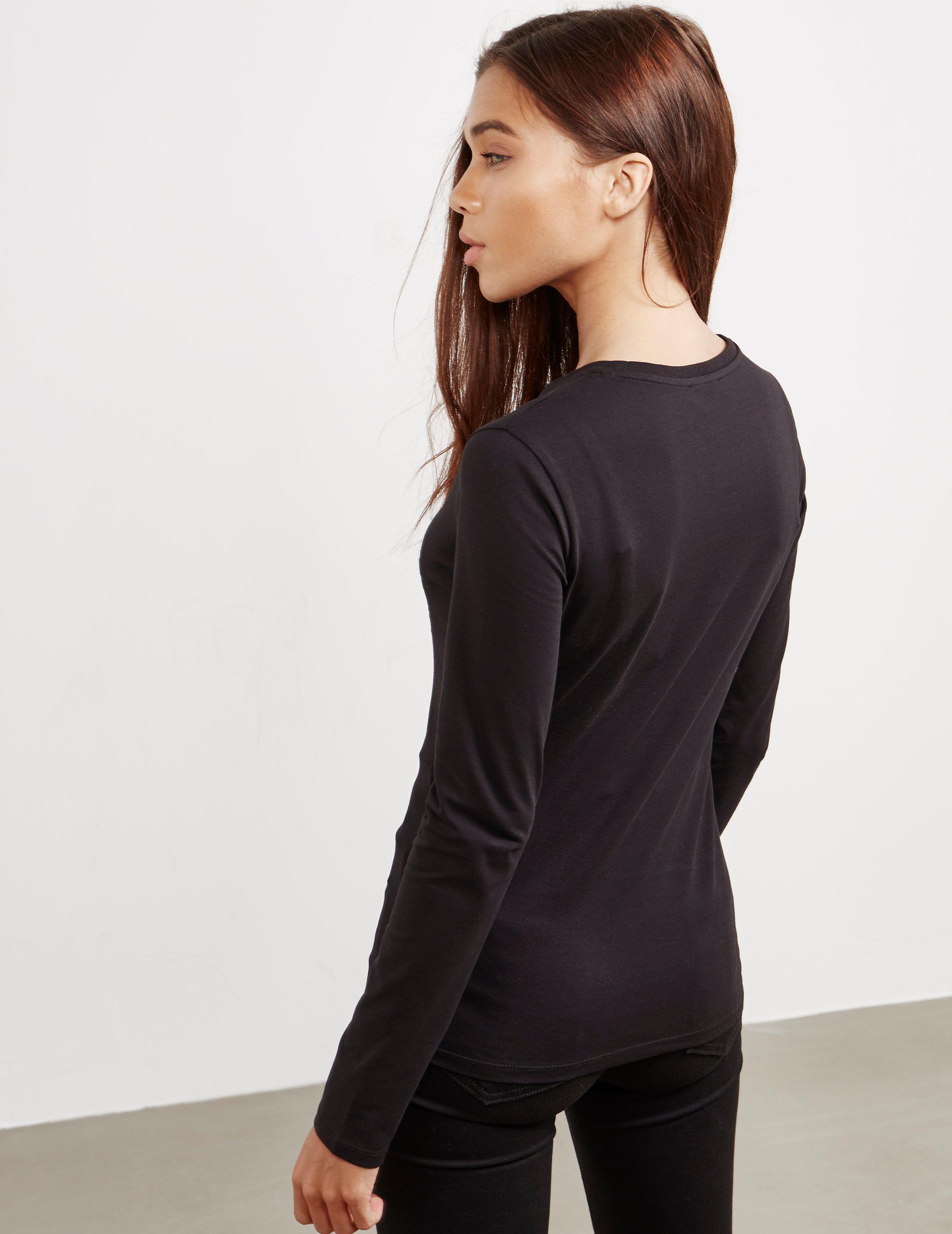 In Armani Long Sleeve Womens Emporio Scribble T Shirt Heart Black zdqWvwZH