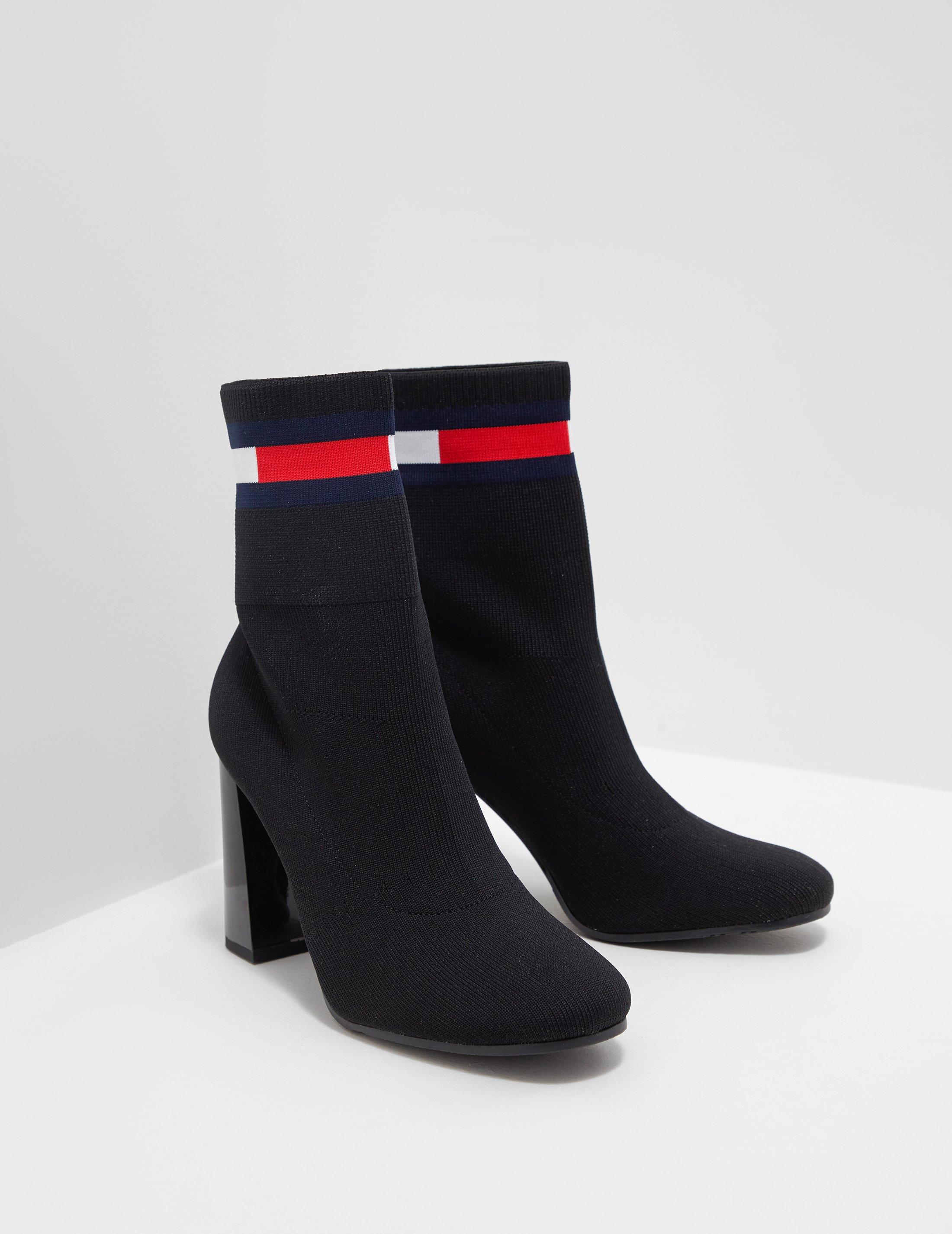 5a1ebd857 Tommy Hilfiger Womens Sock Heeled Boots Black in Black - Lyst