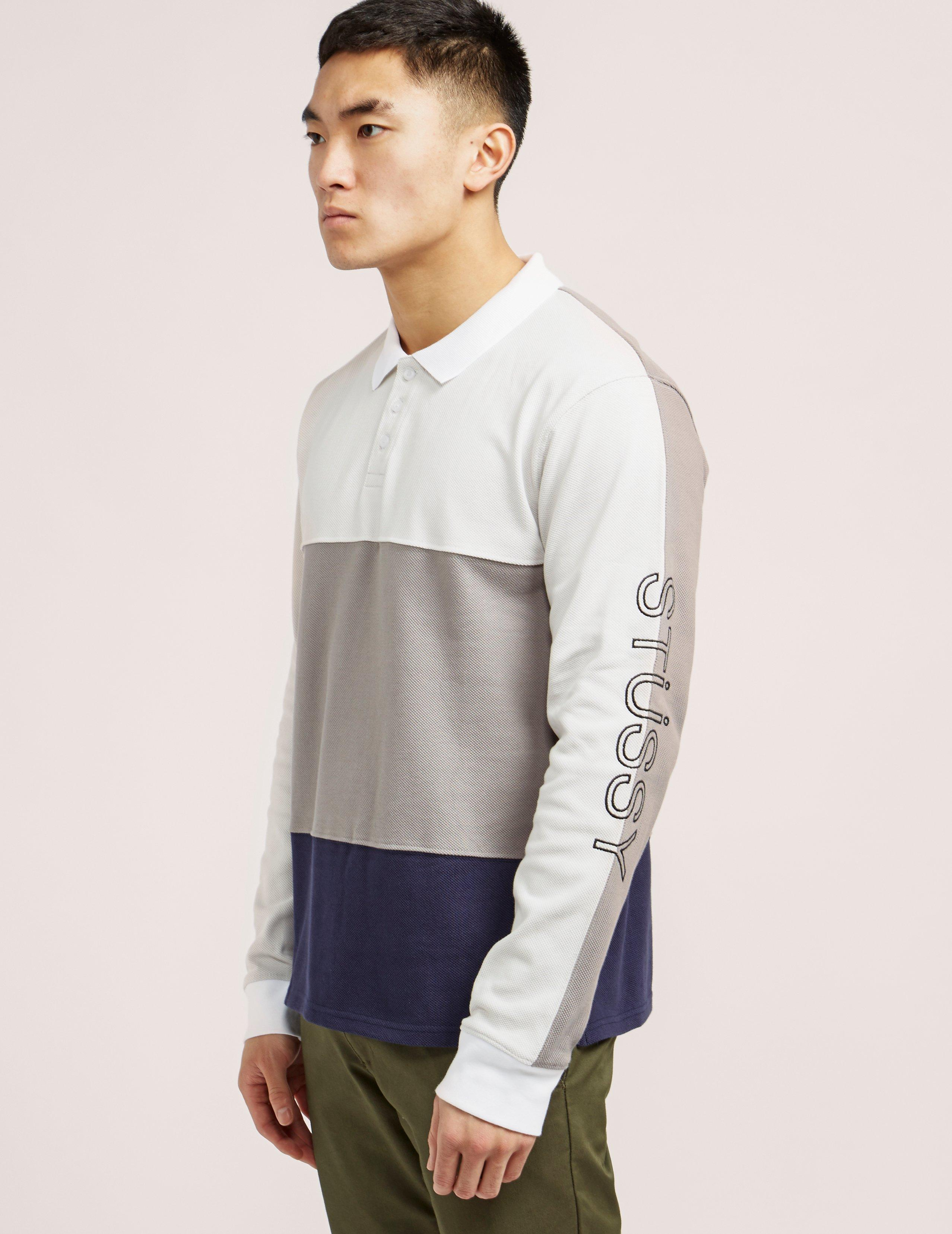 1f6a3ec7f Stussy Panel Pique Long Sleeve Polo Shirt in Gray for Men - Lyst