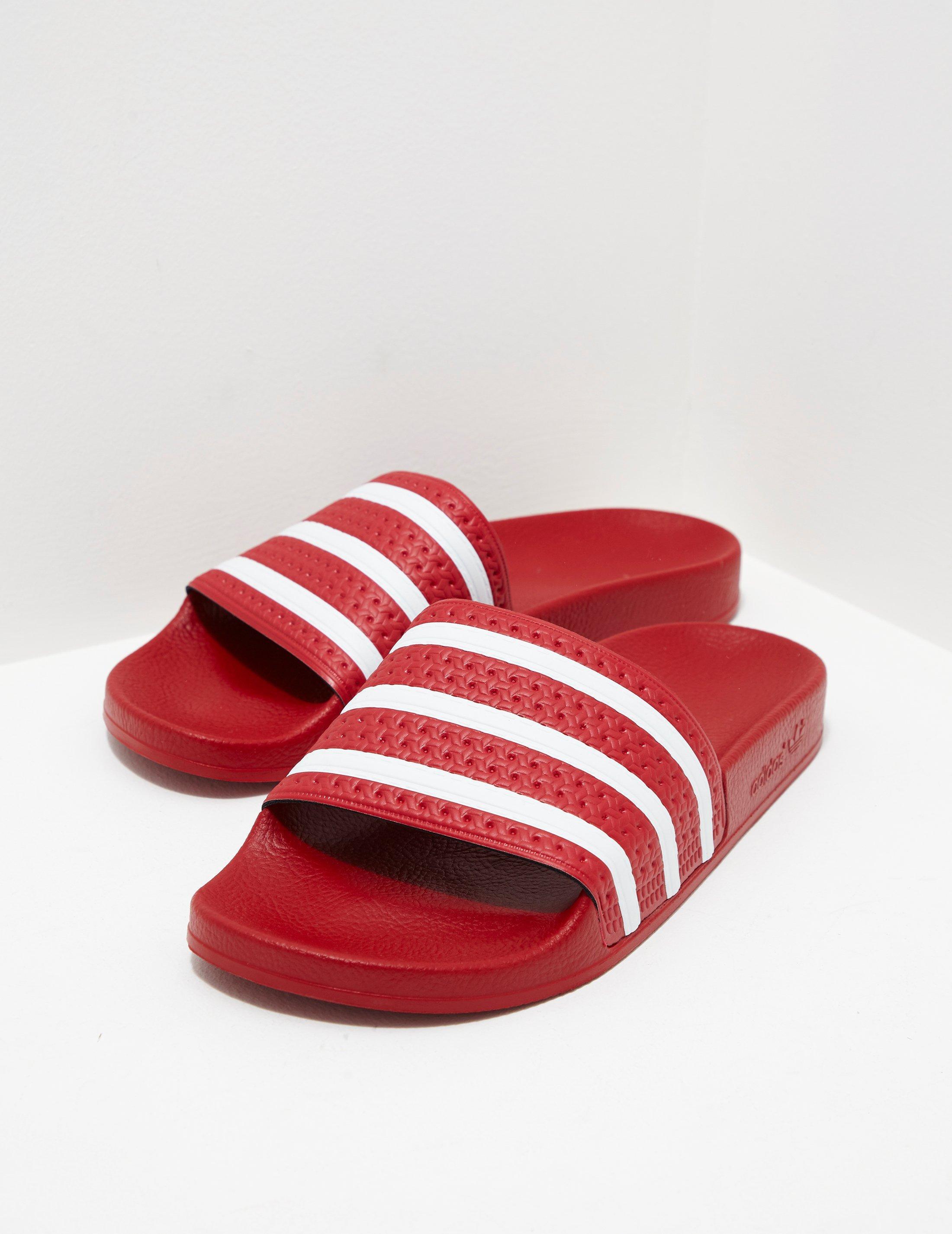 75327655a4c6 Adidas Originals Mens Adilette Slides Red in Red for Men - Lyst