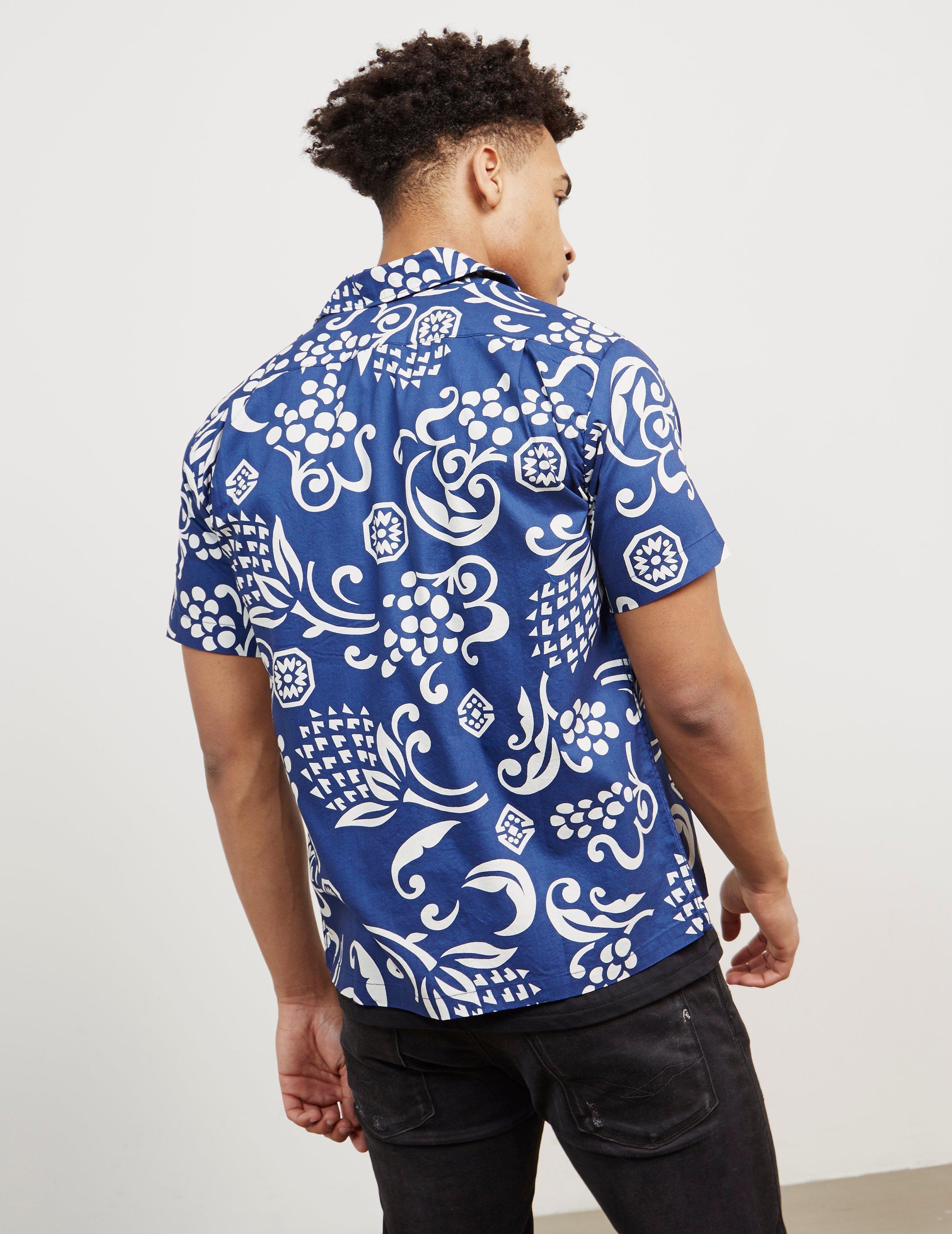 6ef31657 Replay Floral Print Short Sleeve Shirt Navy Blue in Blue for Men ...