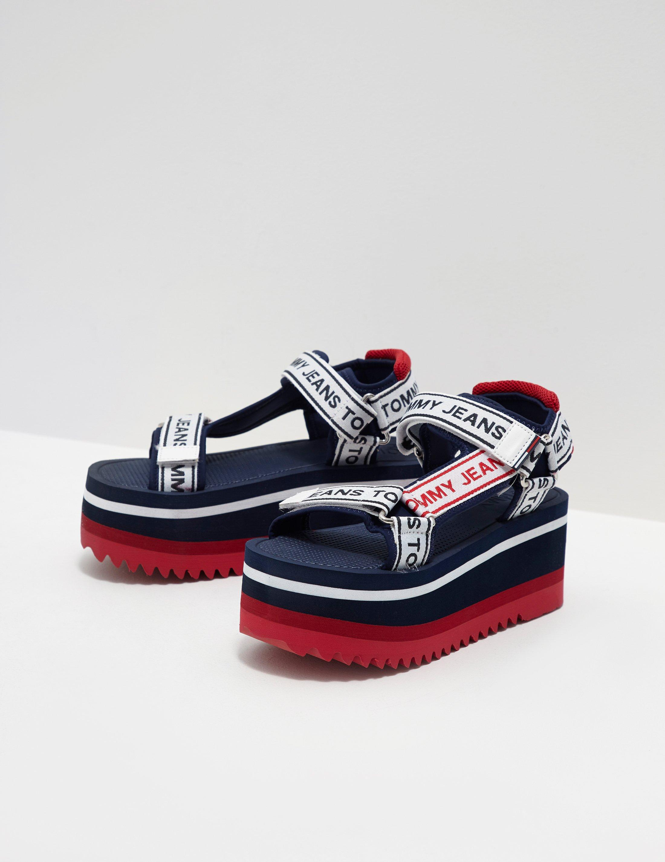 47e7c4c50bd Lyst - Tommy Hilfiger Womens Technical Platform Sandals Navy Blue in ...