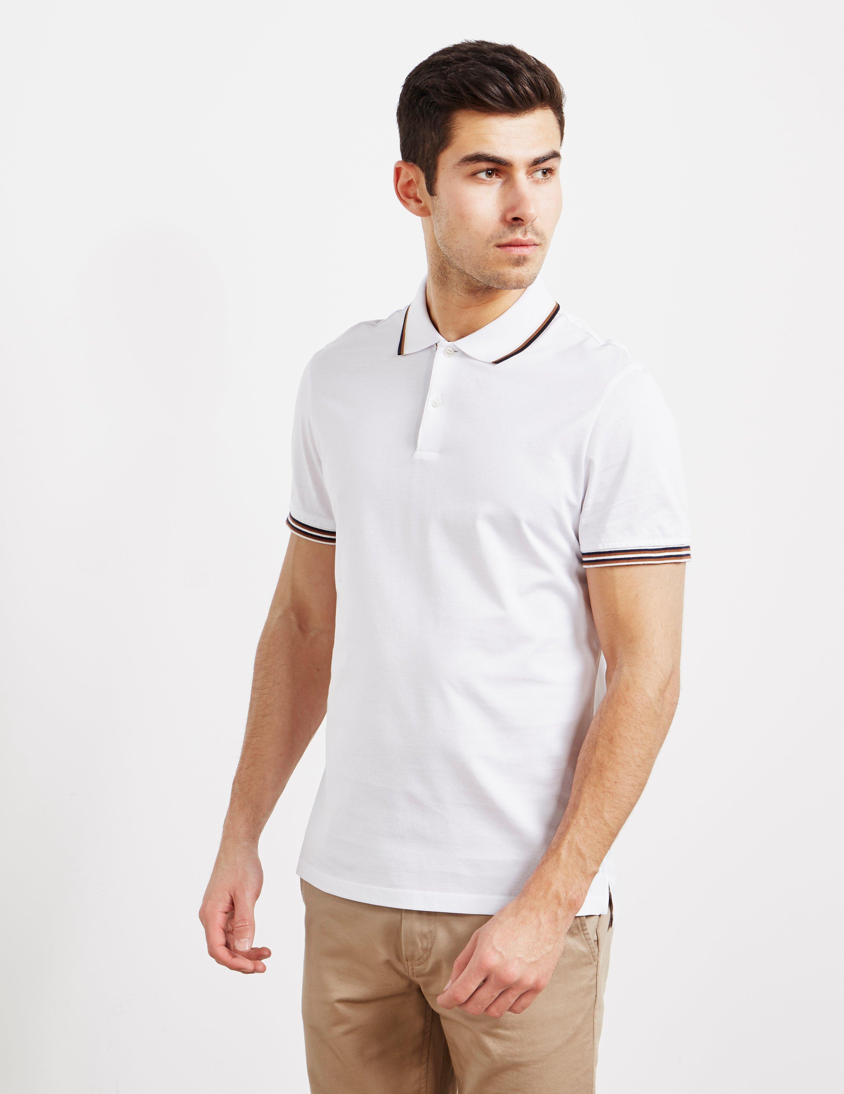 4f4732731 Lyst - Aquascutum Tipped Collar Short Sleeve Polo Shirt White in ...
