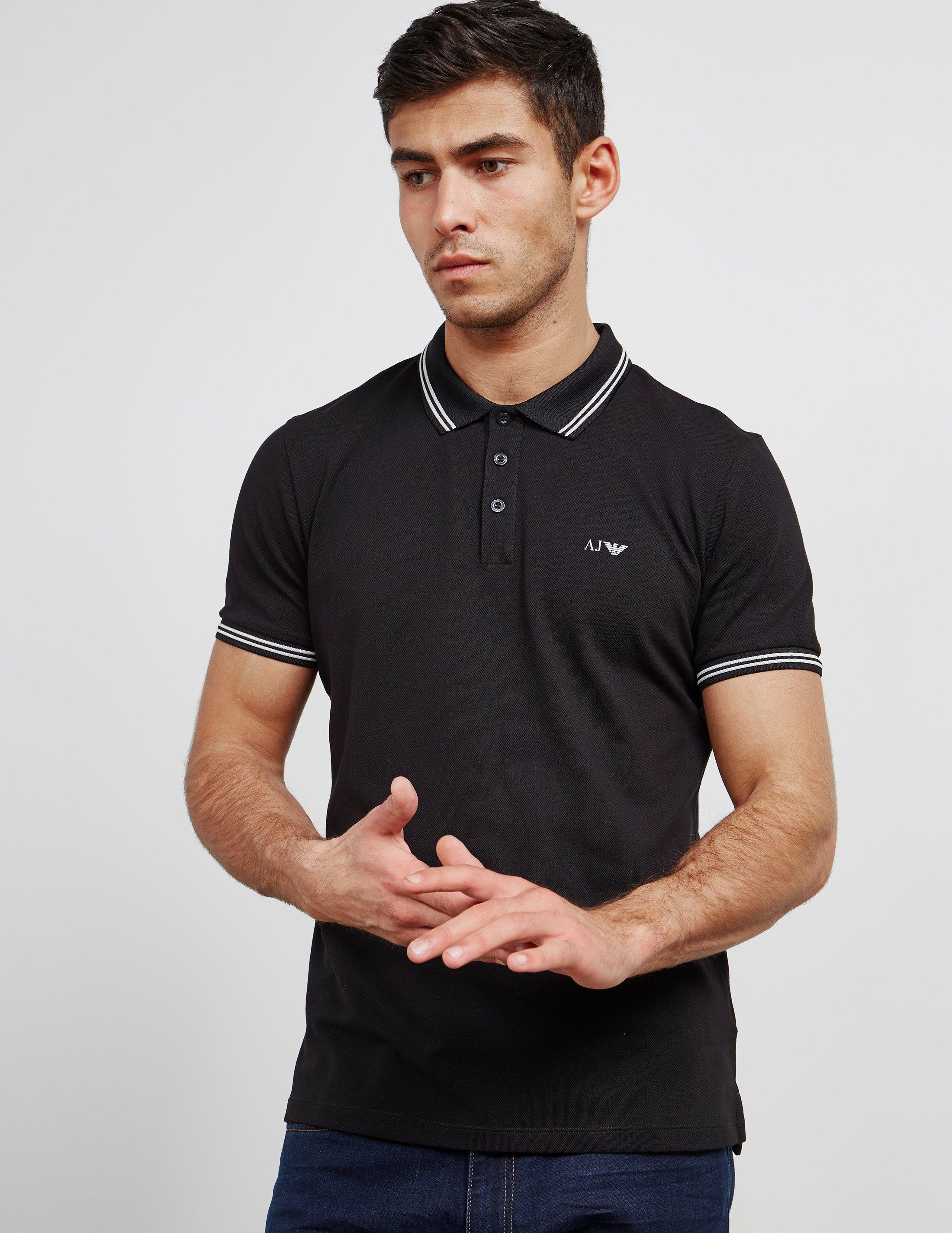 fb449dd5 Armani Jeans Mens Twin Tipped Short Sleeve Polo Shirt Black in Black ...