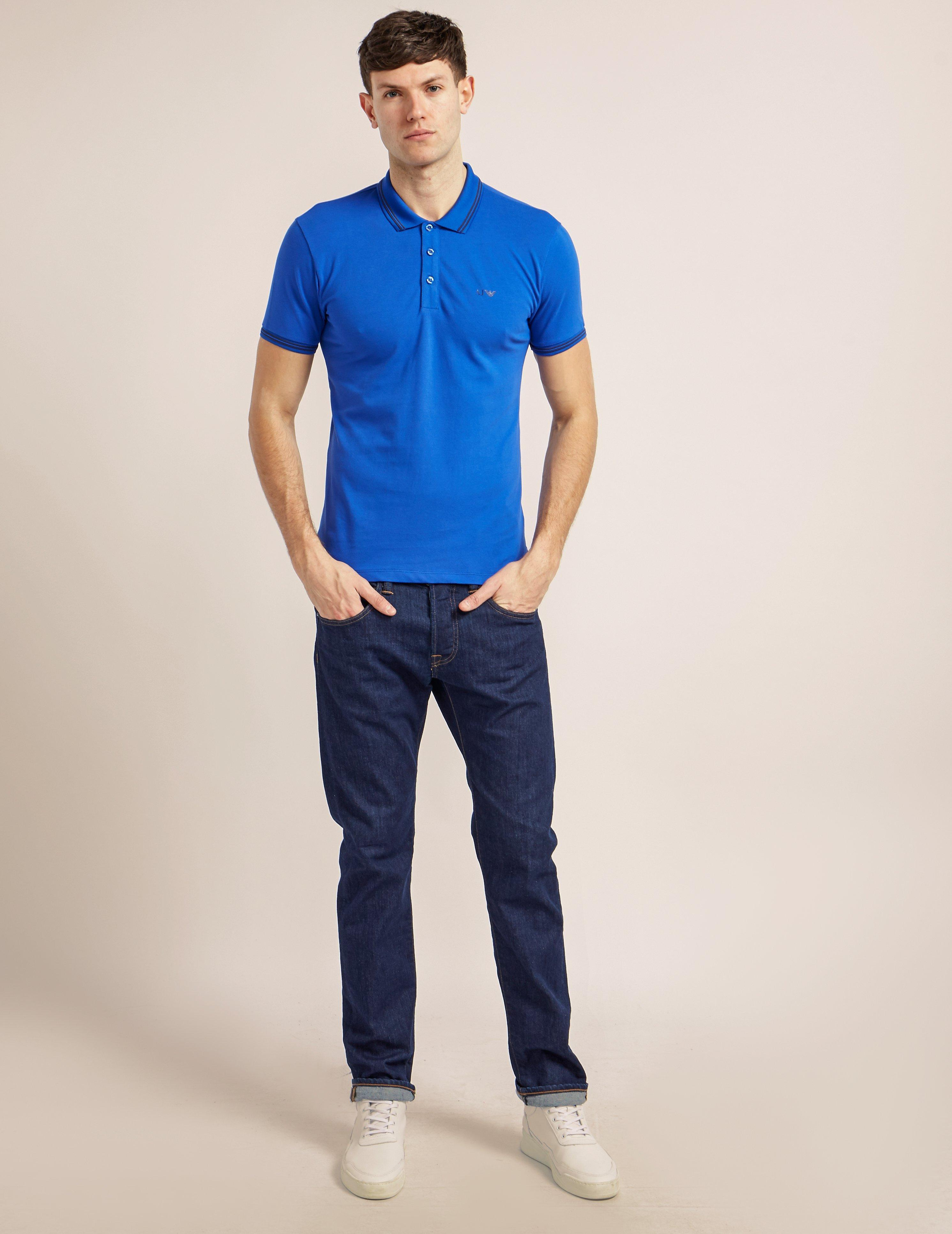 Lyst armani jeans tipped short sleeve polo shirt in blue for Polo shirt and jeans
