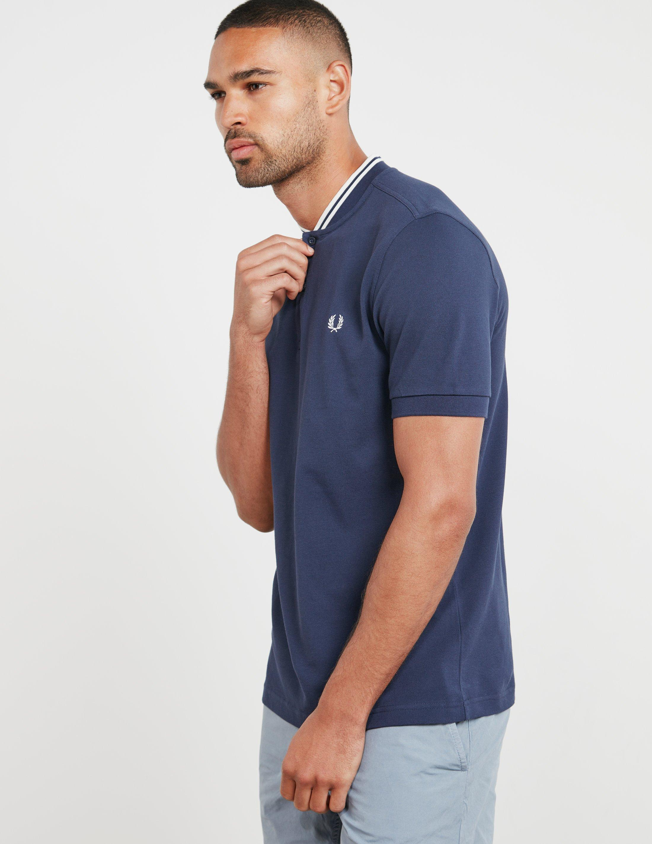bddbb3ab Fred Perry Bomber Collar Short Sleeve Polo Shirt Navy Blue in Blue ...
