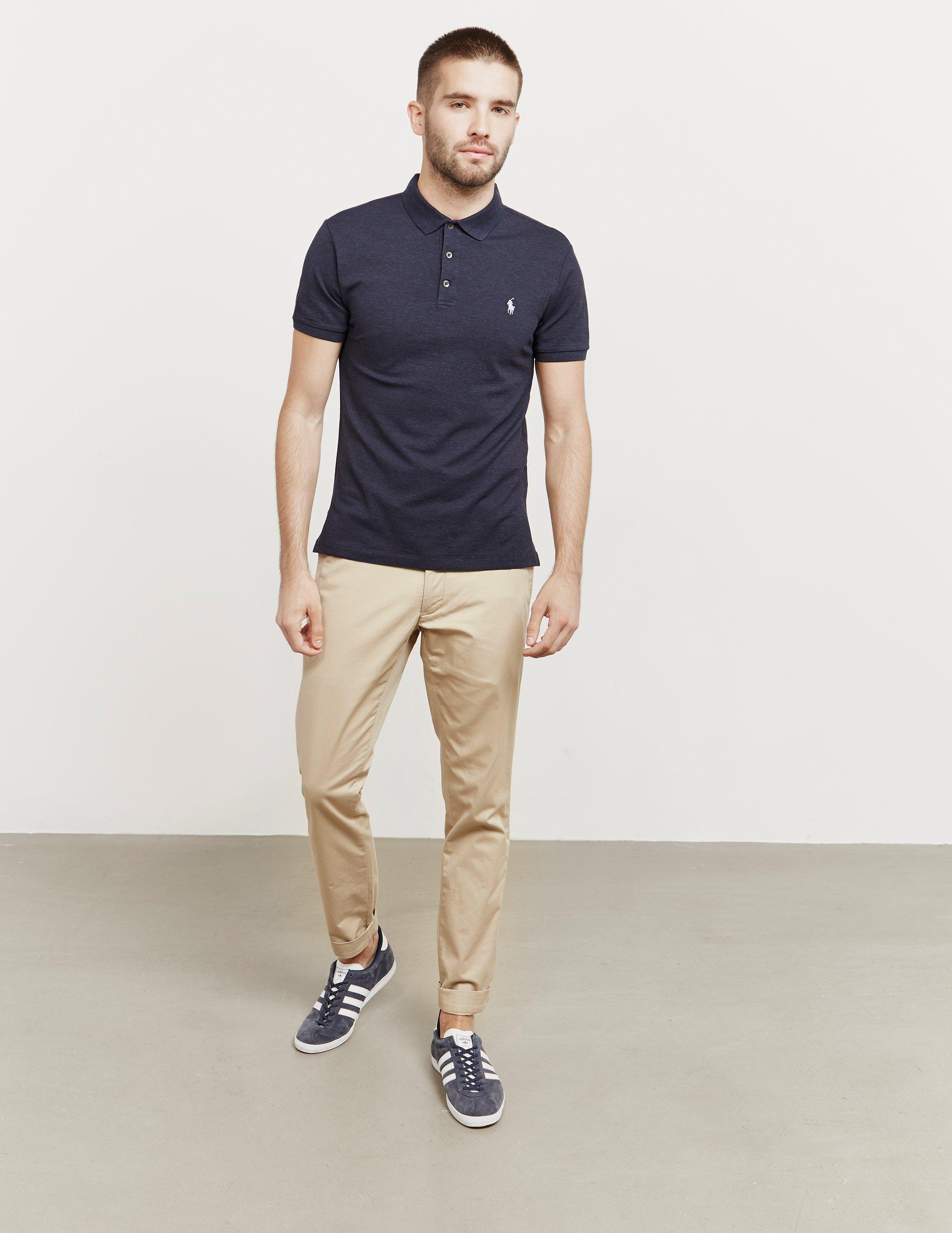 20746d4f3 ... discount lyst polo ralph lauren mens slim fit stretch short sleeve polo  shirt navy blue in
