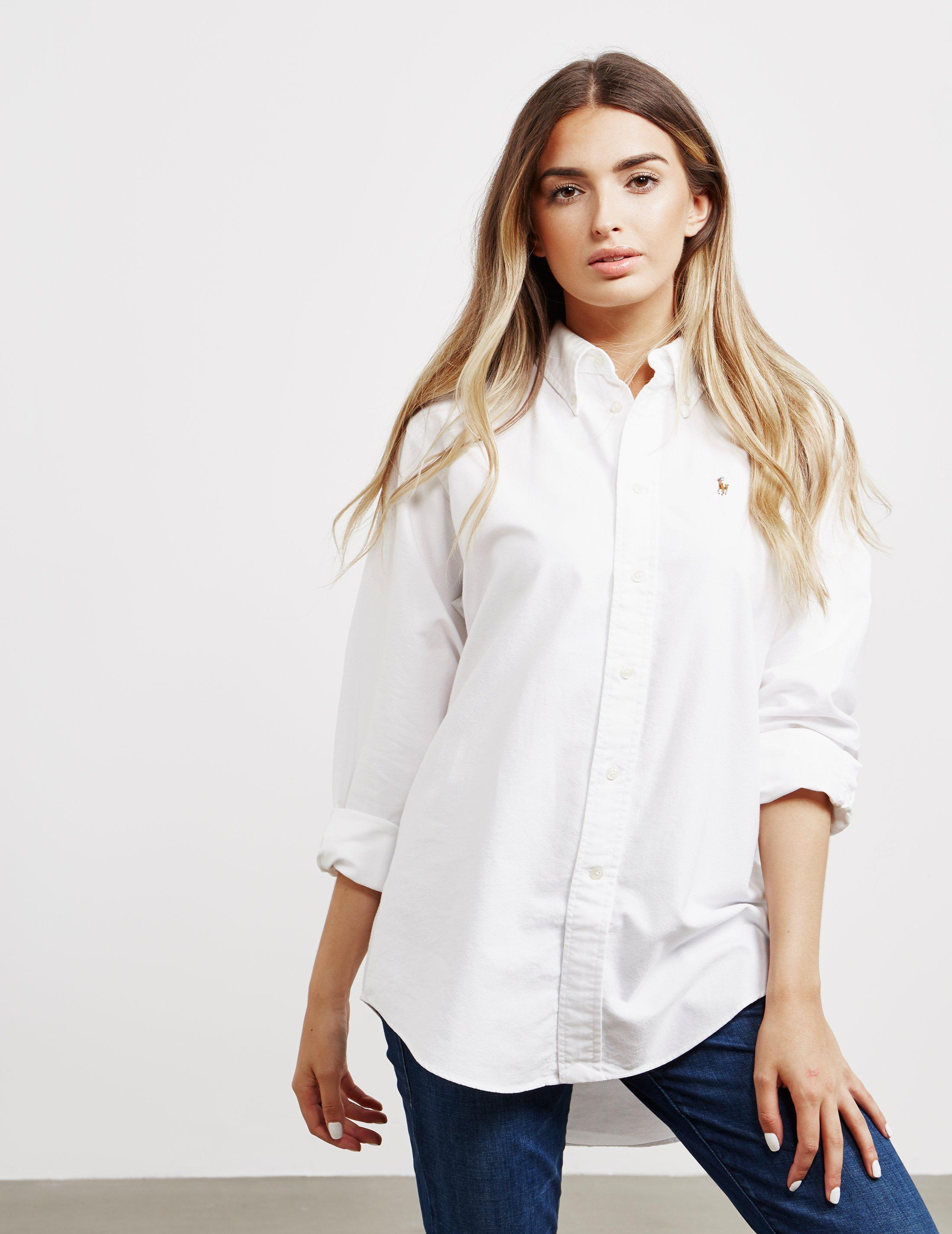 Polo Ralph Lauren Womens Oversized Oxford Long Sleeve Shirt White in ... be41d41884