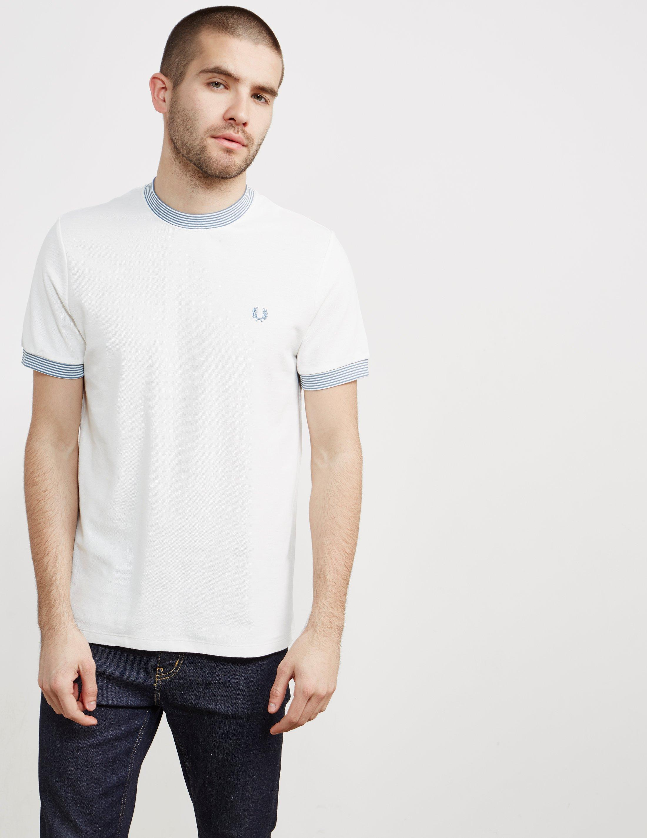 Lyst fred perry mens pique neck stripe short sleeve t for Fred perry mens shirts sale