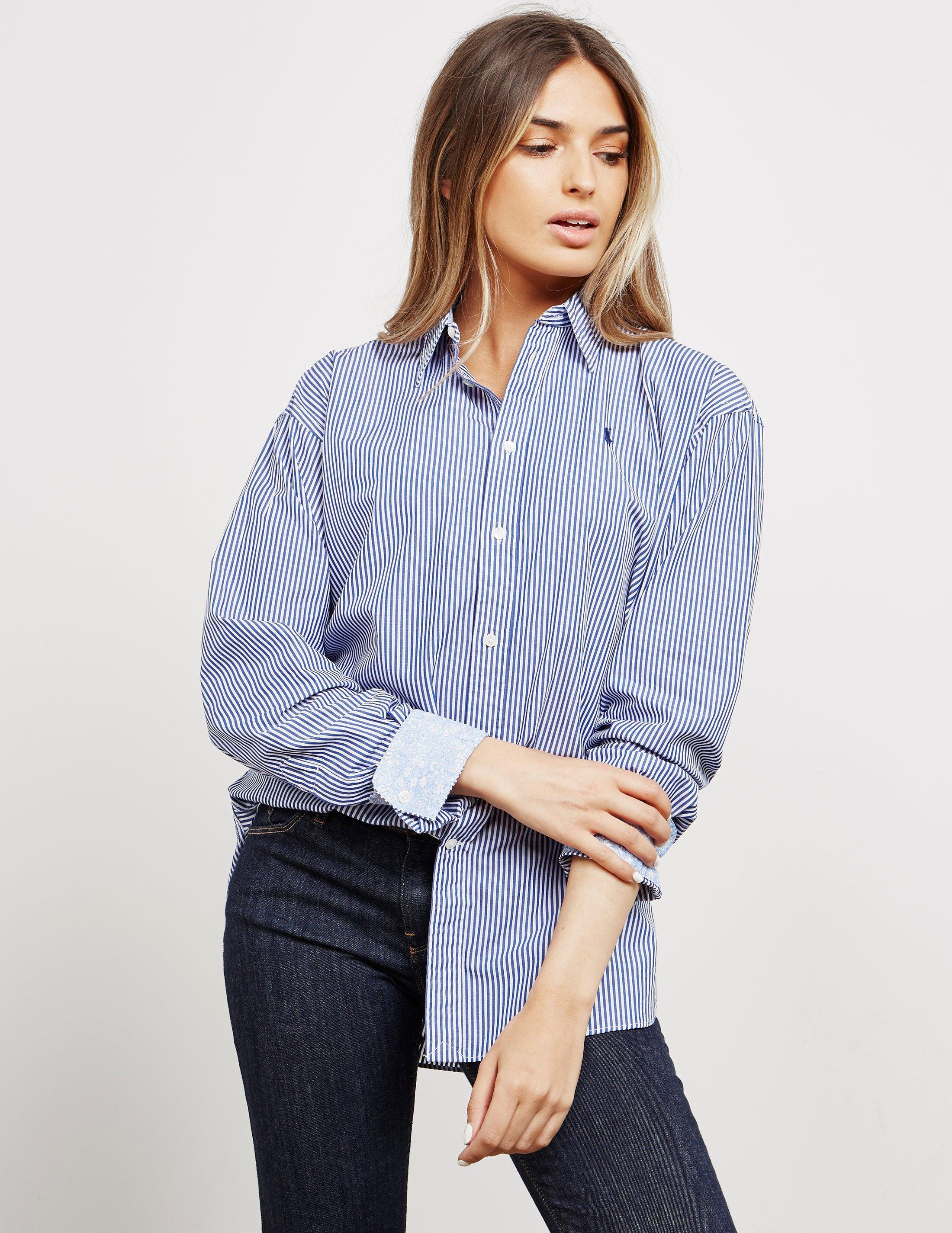 9f73c8dd80 Polo Ralph Lauren Ellen Stripe Long Sleeve Shirt Blue in Blue - Lyst