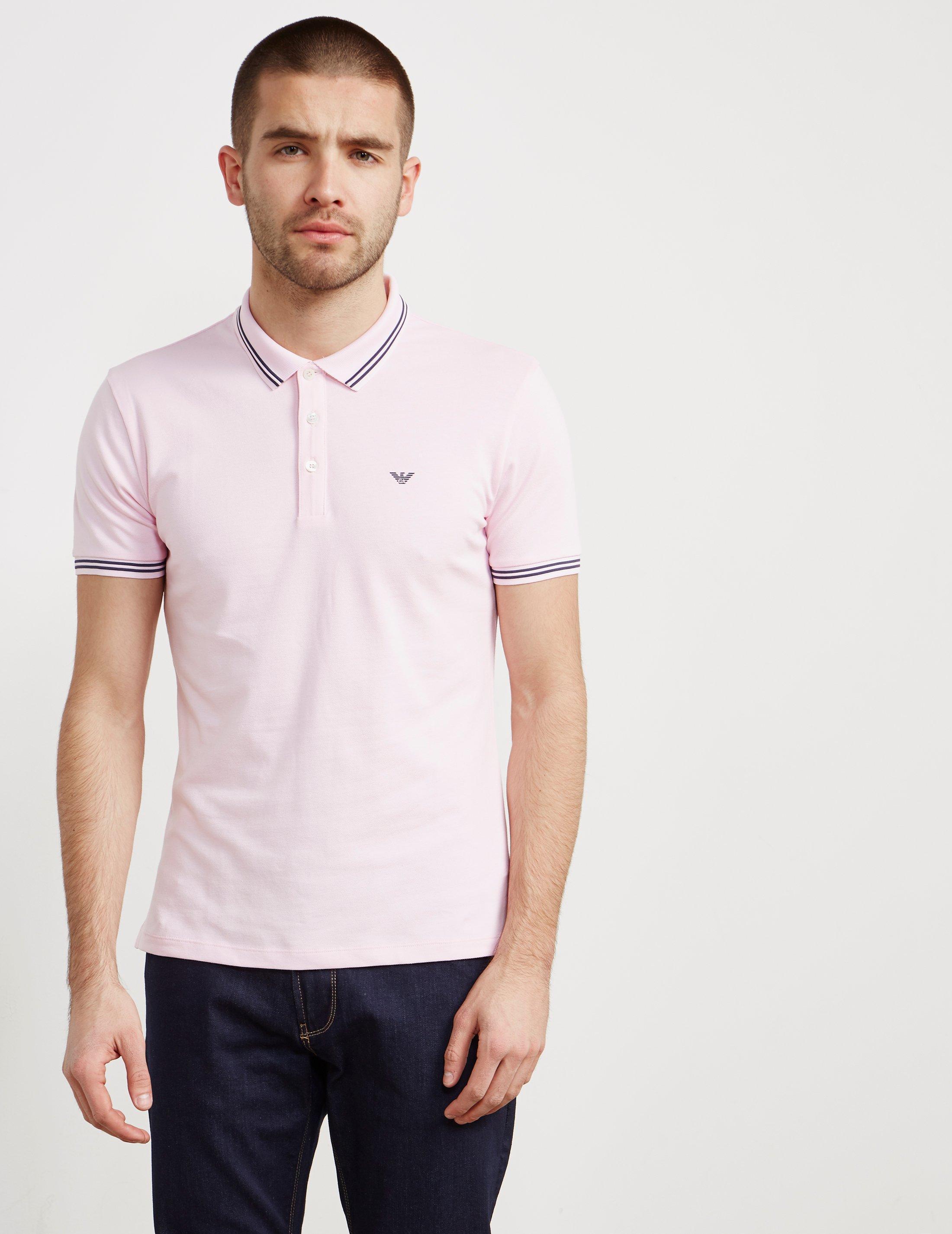 Emporio Armani. Mens Basic Tipped Short Sleeve Polo Shirt Pink/pink