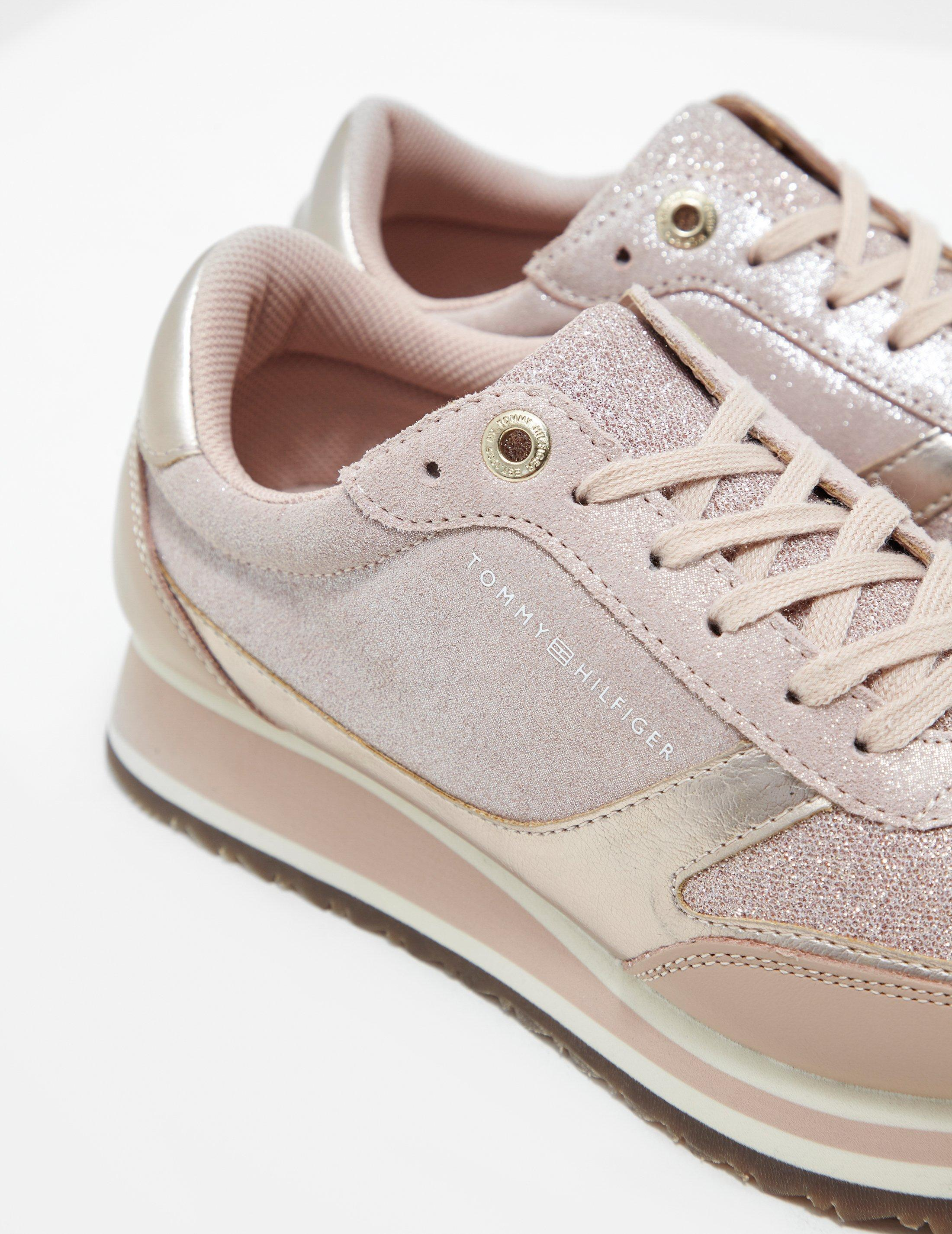 3720534ad Lyst - Tommy Hilfiger Metallic Retro Trainers Pink in Pink