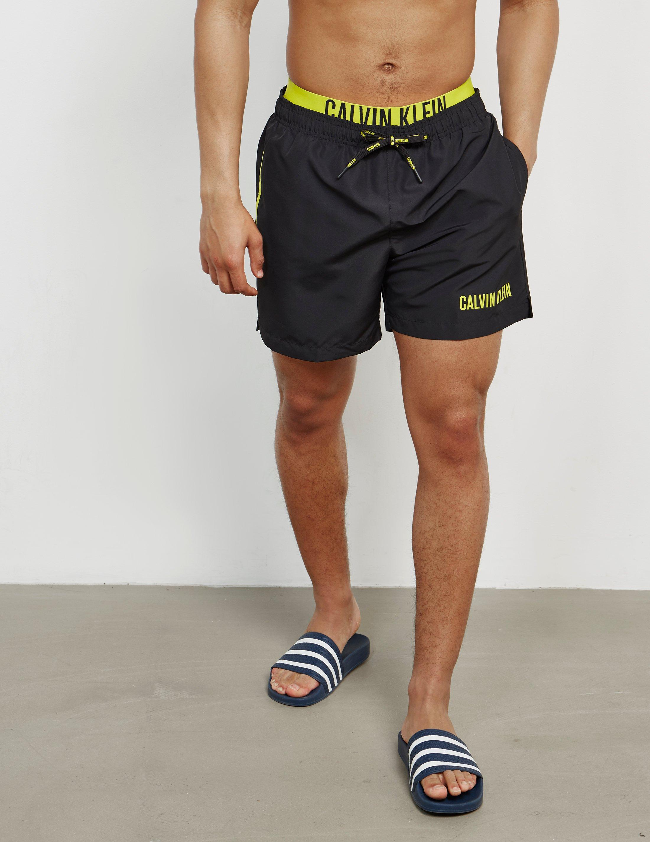 719e0de5db Calvin Klein Mens Double Waistband Swim Shorts Black in Black for ...