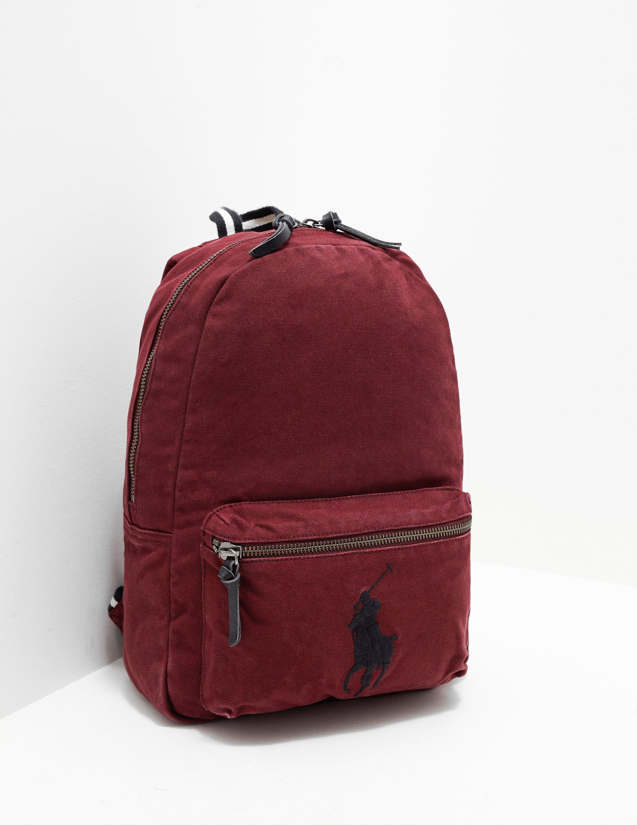 Polo Ralph Lauren Logo Embroidered Canvas Backpack in Red for Men - Lyst 5e317a3379fb7