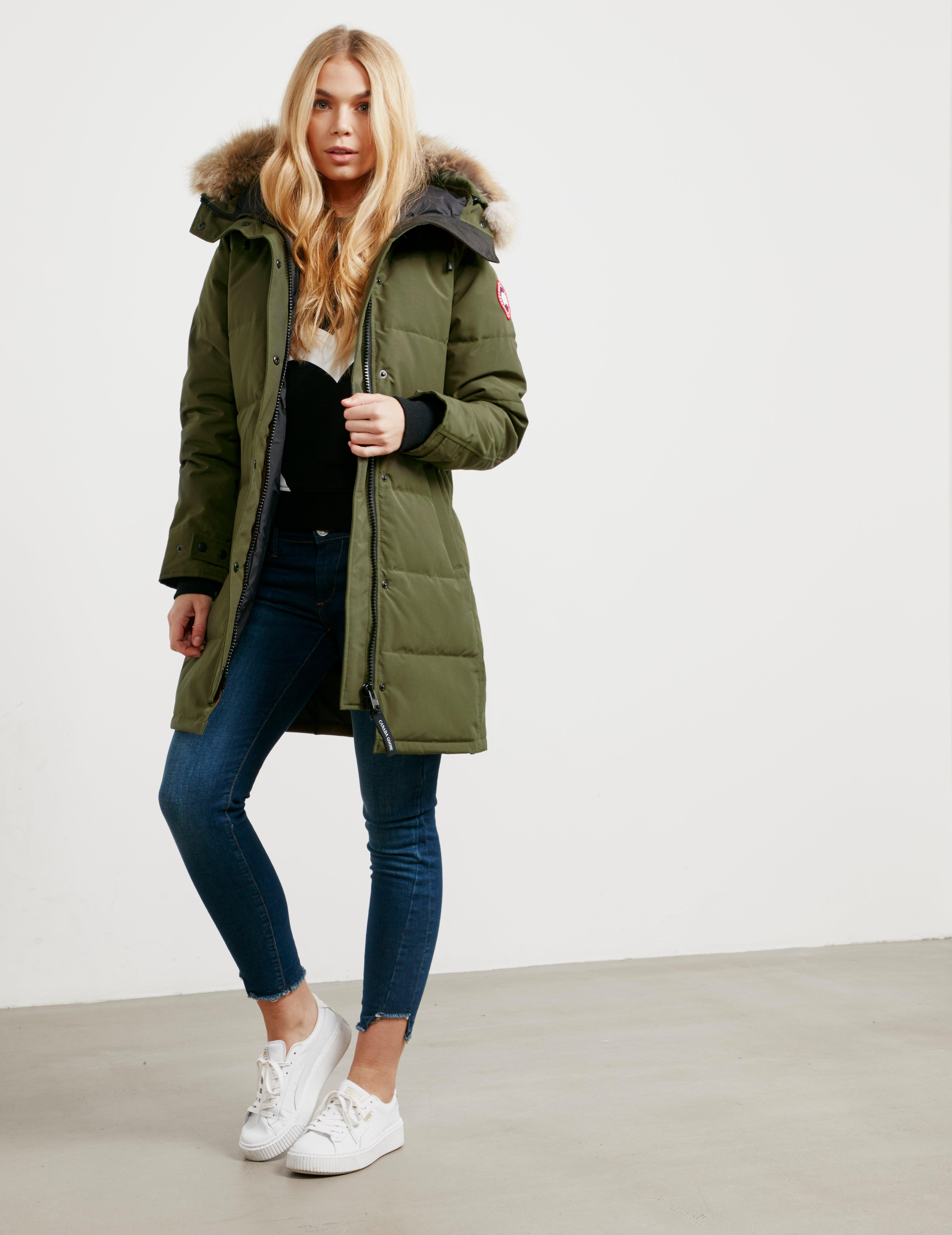 b02a9fc6648 ... buy lyst canada goose womens shelburne padded parka jacket green in  green save 5.832628909551985 48df0 01ec2