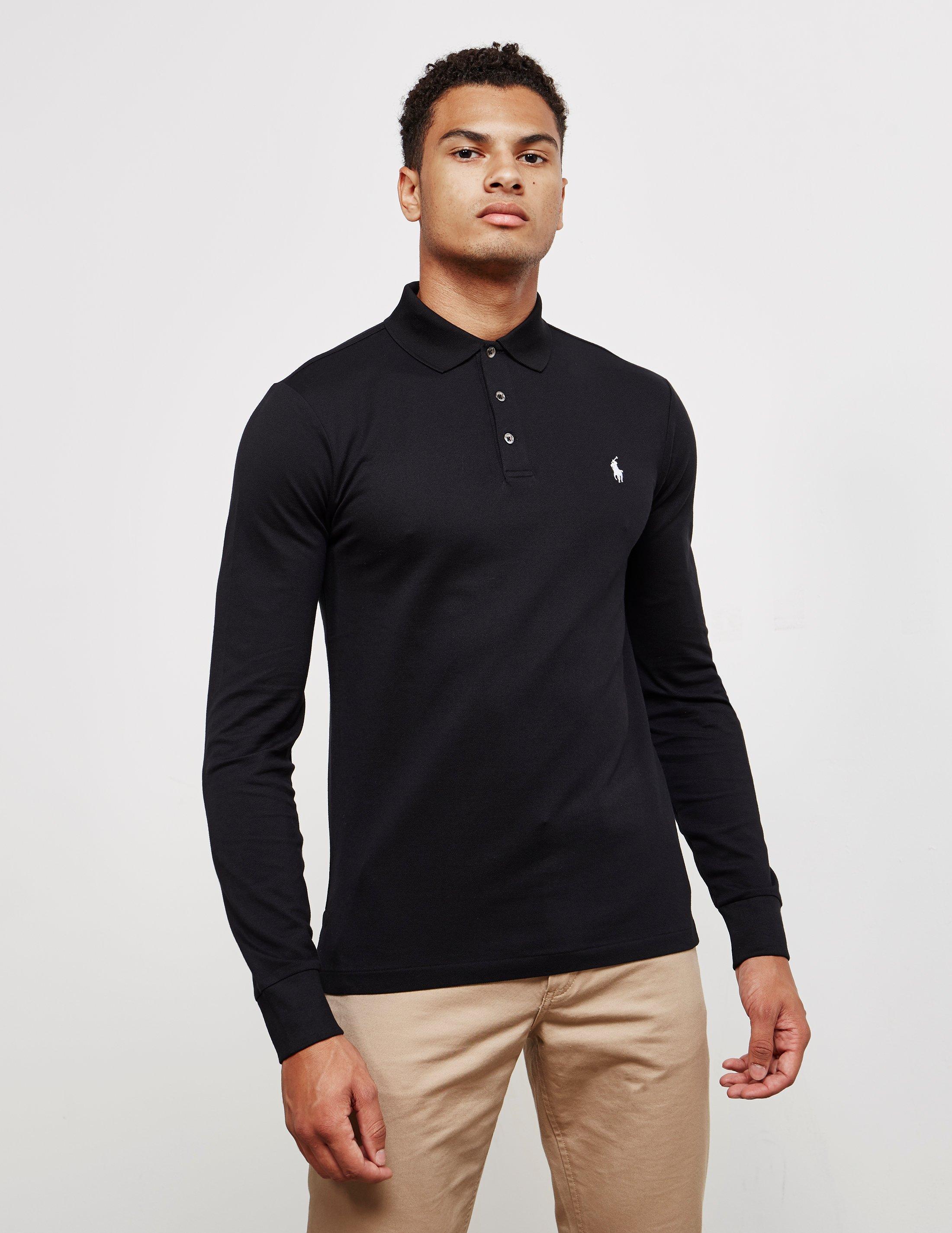 cf15e7d310f0 Polo Ralph Lauren Stretch Long Sleeve Polo Shirt Black in Black for ...