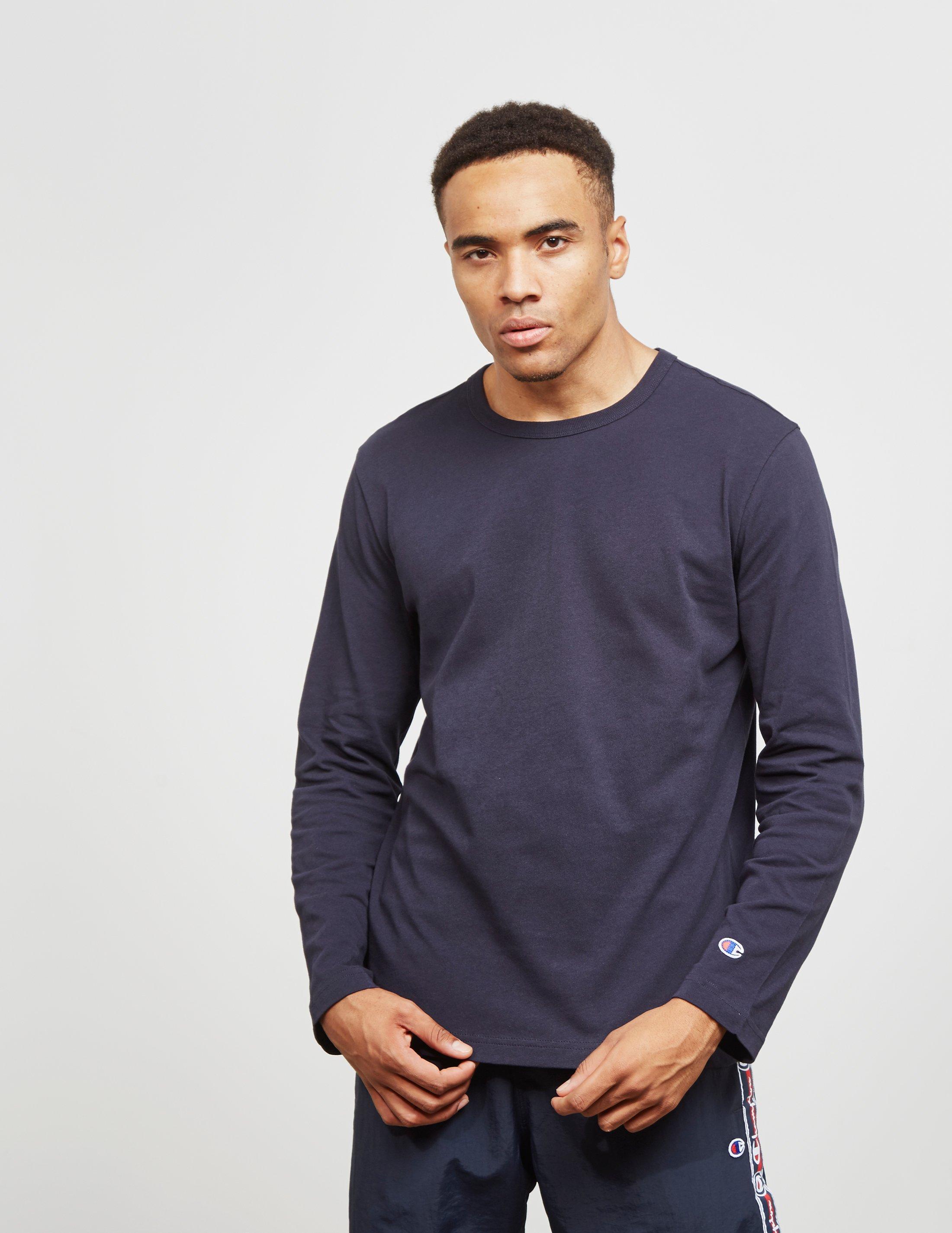 7faa01af Champion Mens Basic Long Sleeve T-shirt Navy Blue in Blue for Men ...