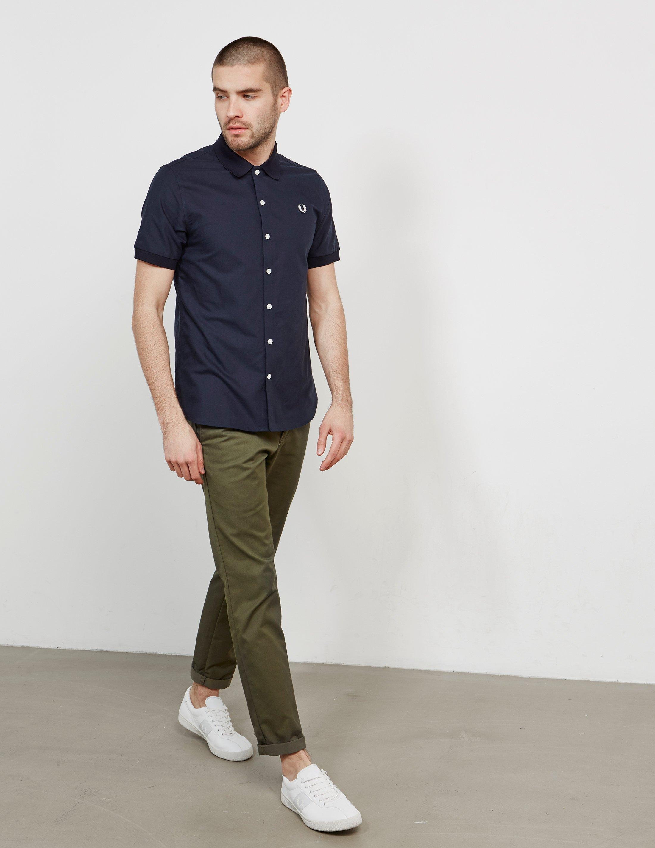 2c2fa1290 Fred Perry Knitted Collar Short Sleeve Oxford Shirt in Blue for Men - Save  39% - Lyst