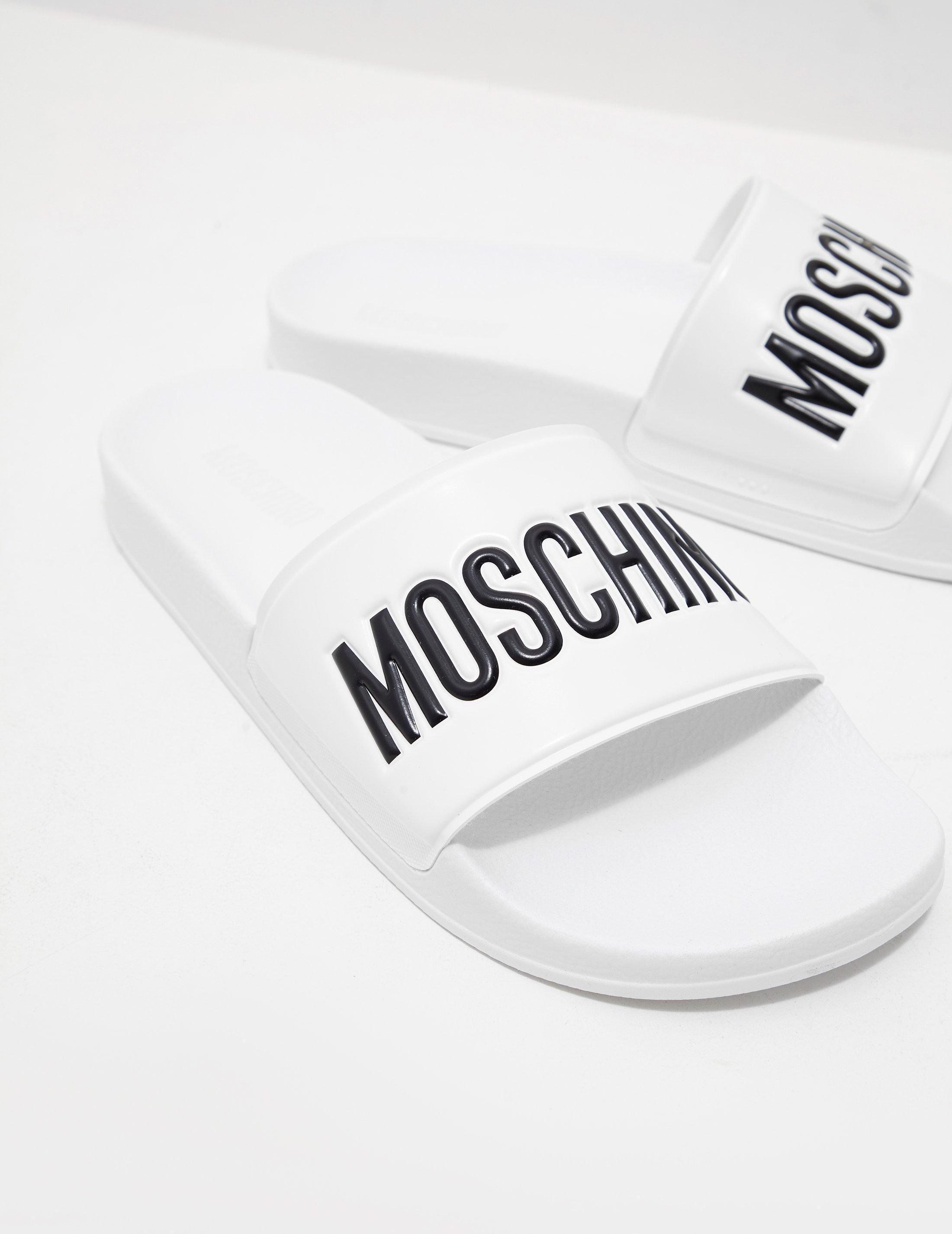 7bddb8d434850 Love Moschino Logo Strap Slides White in White for Men - Lyst