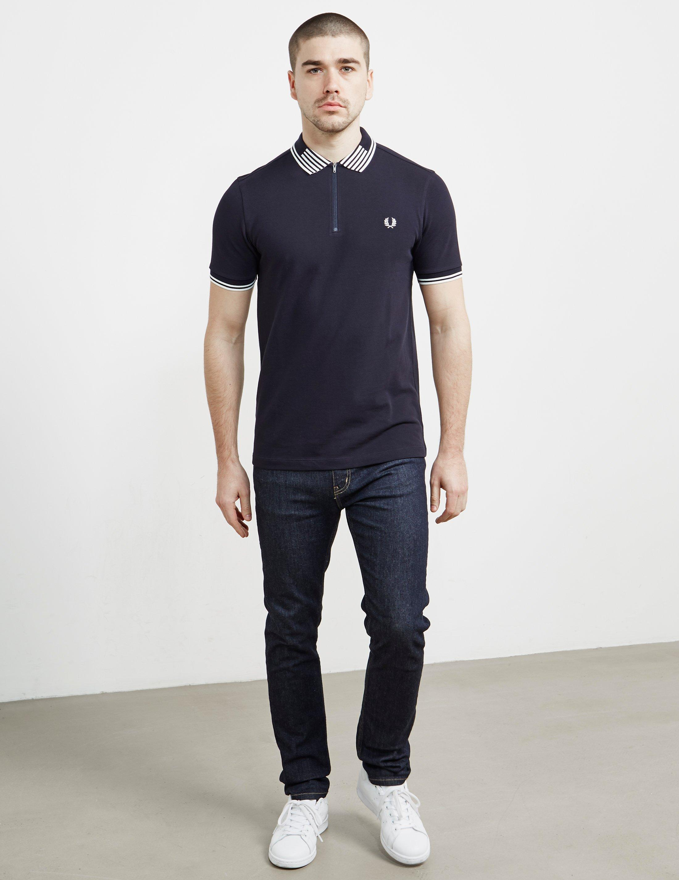 32f5ebeffb Fred Perry Mens Striped Collar Pique Short Sleeve Polo Shirt Navy ...