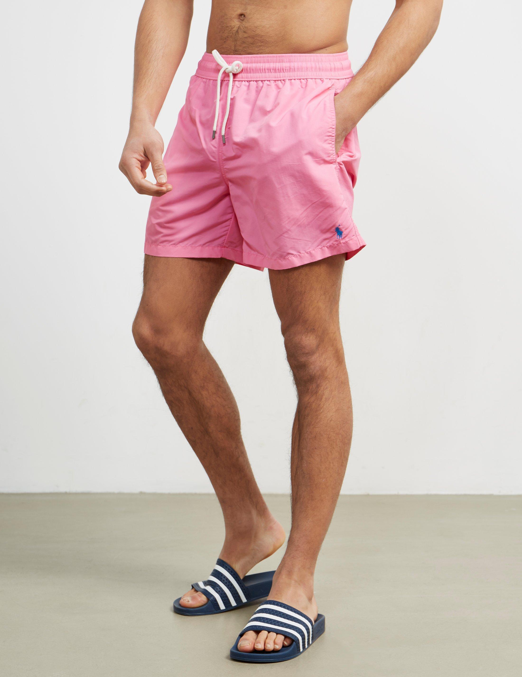 fbb12eab9d053 ... get polo ralph lauren mens basic swim shorts pink in pink for men lyst  bc1d9 0b796