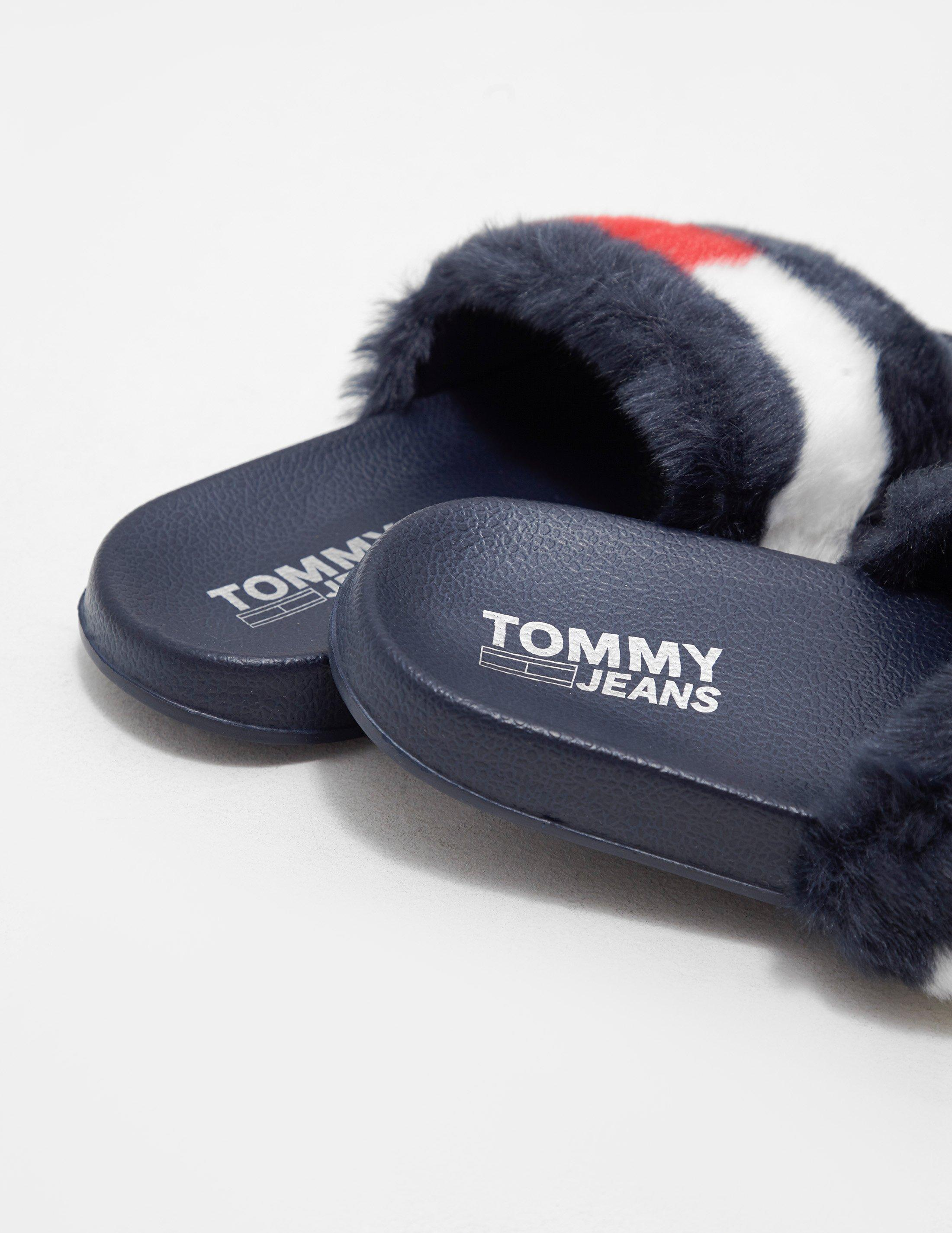 4b333859904cef Lyst - Tommy Hilfiger Funny Fur Pool Slides in Blue