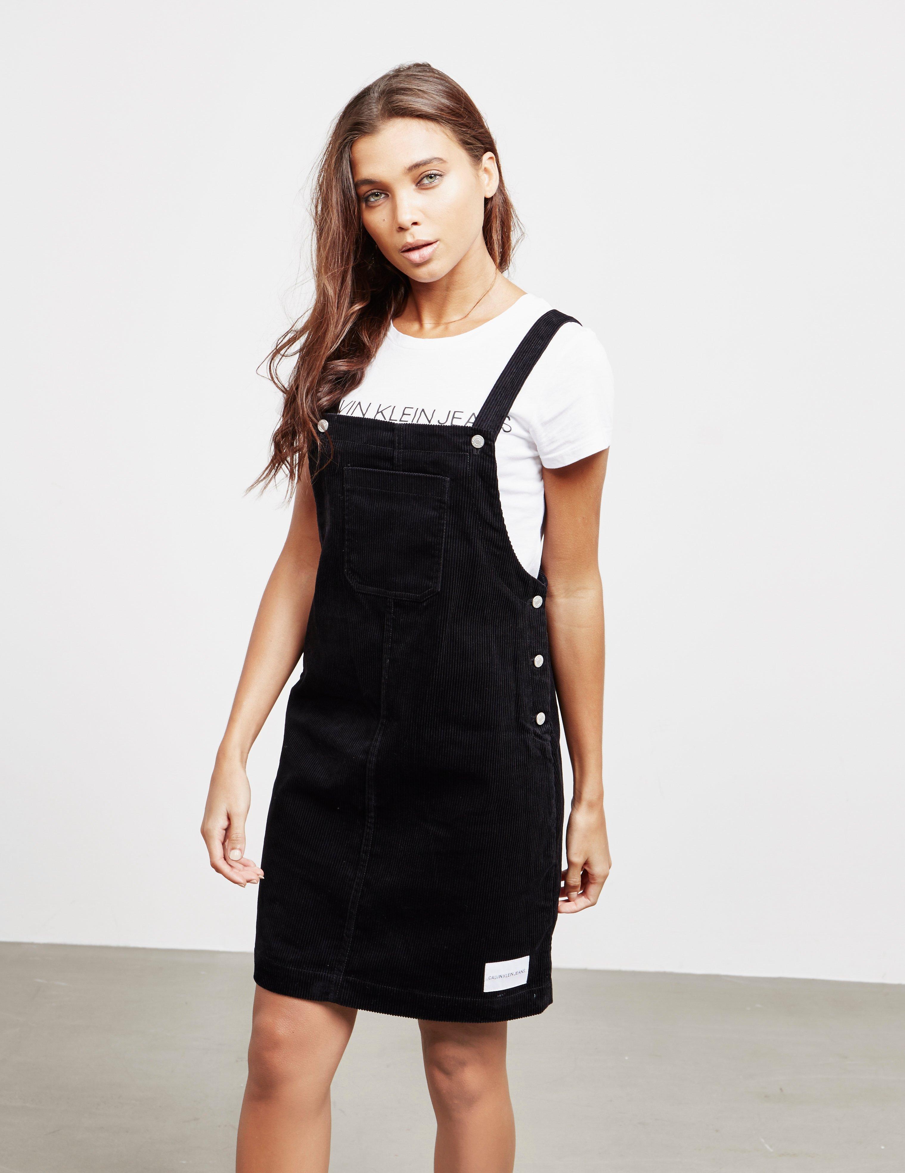4defe685164 Calvin Klein Corduroy Pinafore Dress Black in Black - Lyst
