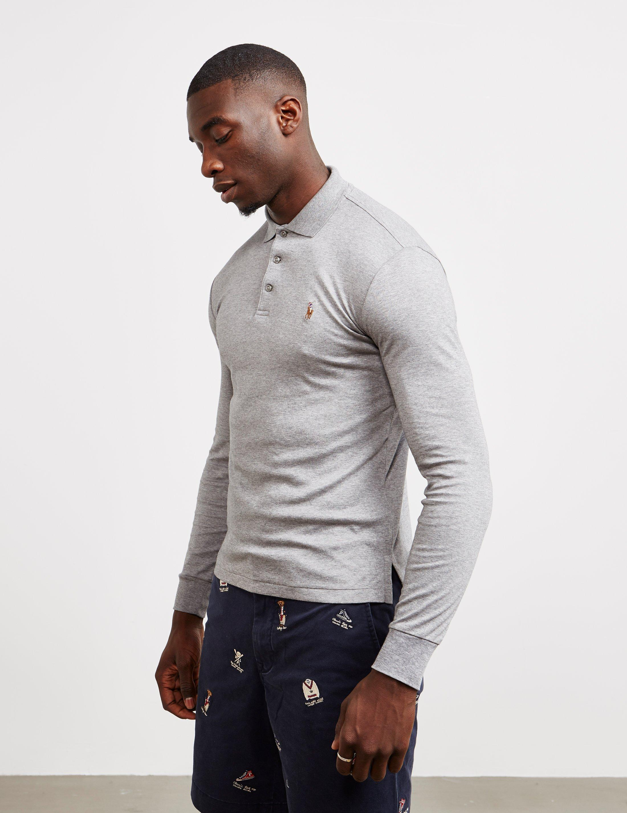 3624264dc163 Polo Ralph Lauren Stretch Long Sleeve Polo Shirt Grey in Gray for ...