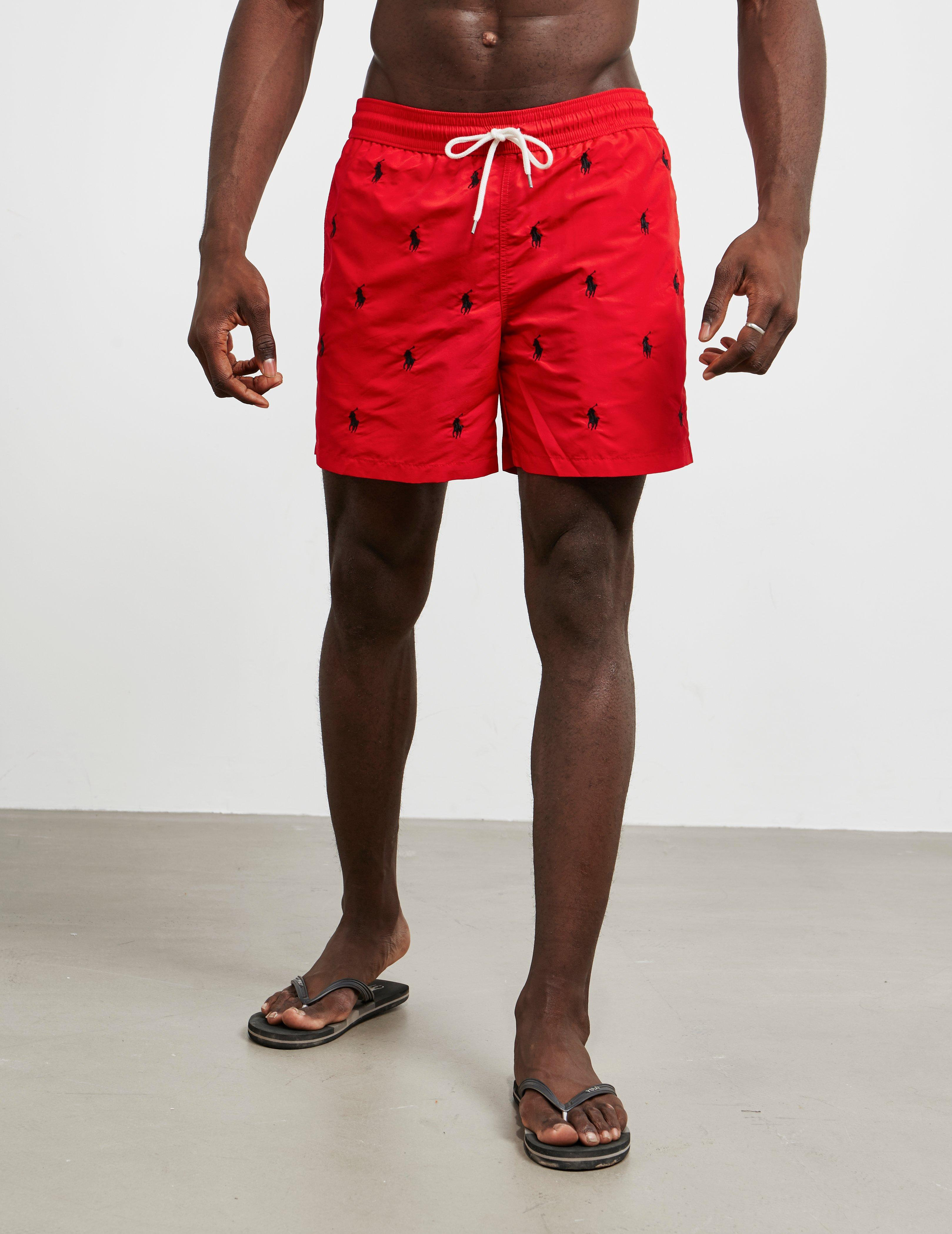 37307bf32f Lyst - Polo Ralph Lauren All Over Print Swim Shorts Red in Red for Men