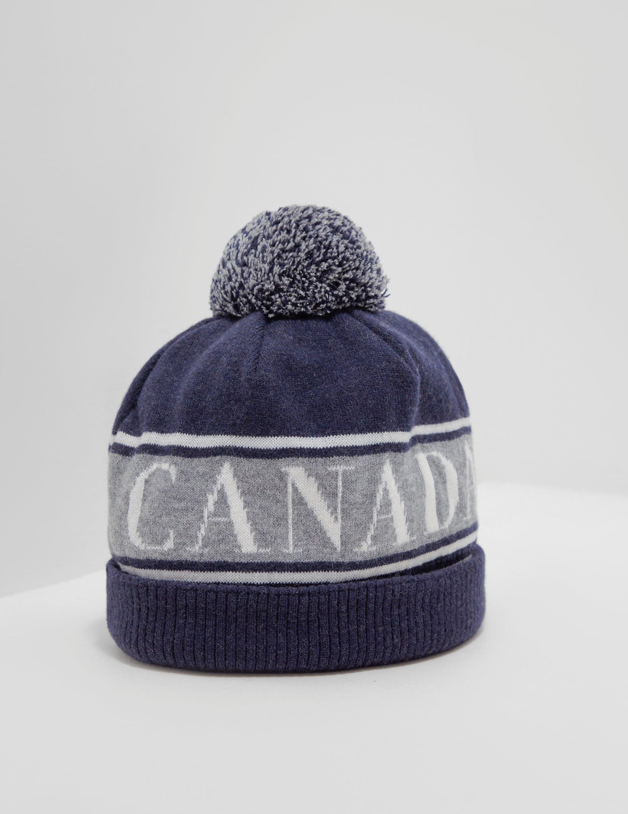 9748ef642bd Lyst - Canada Goose Logo Beanie Blue in Blue for Men