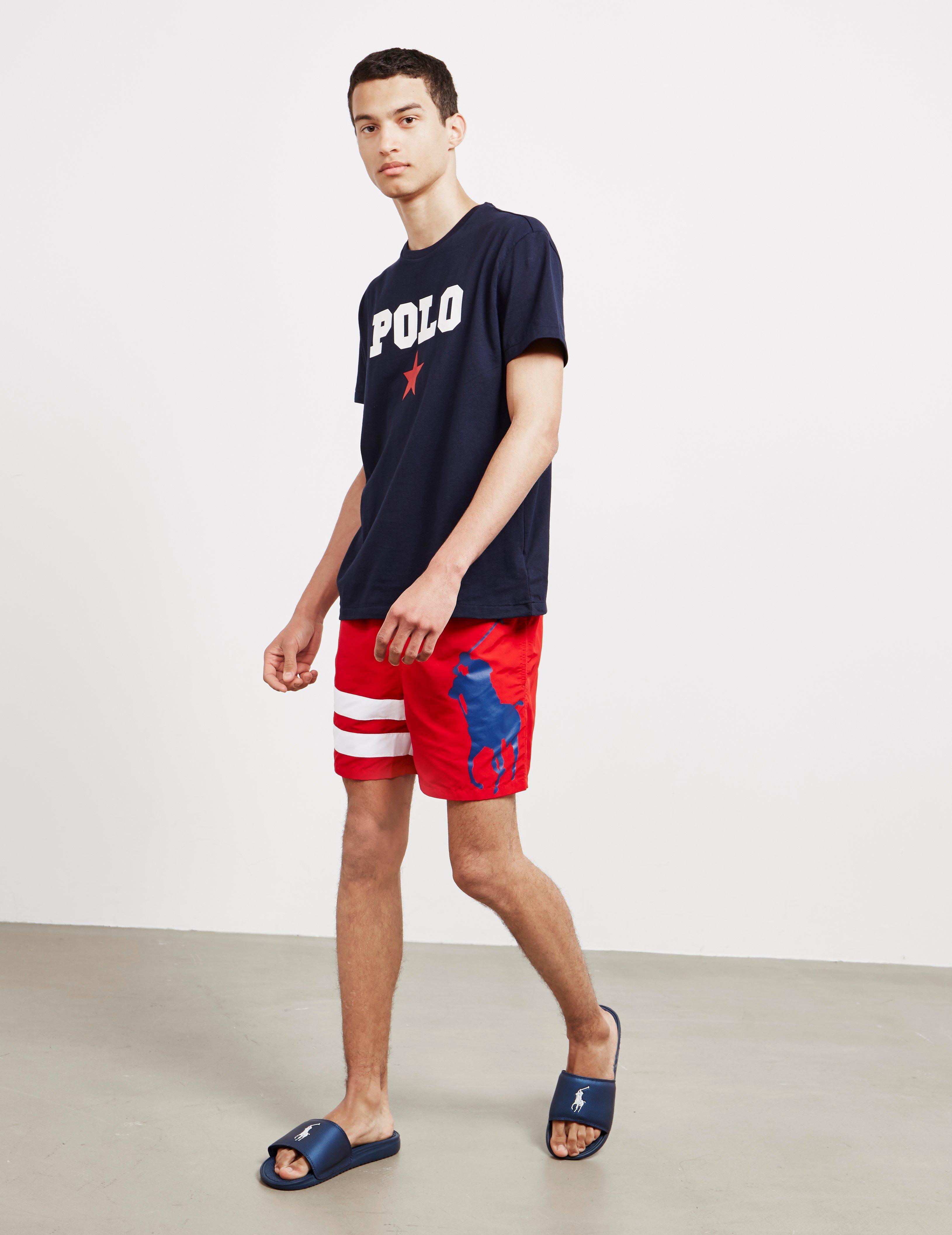 7875815e25 Polo Ralph Lauren Stripe Swim Shorts Red in Red for Men - Lyst