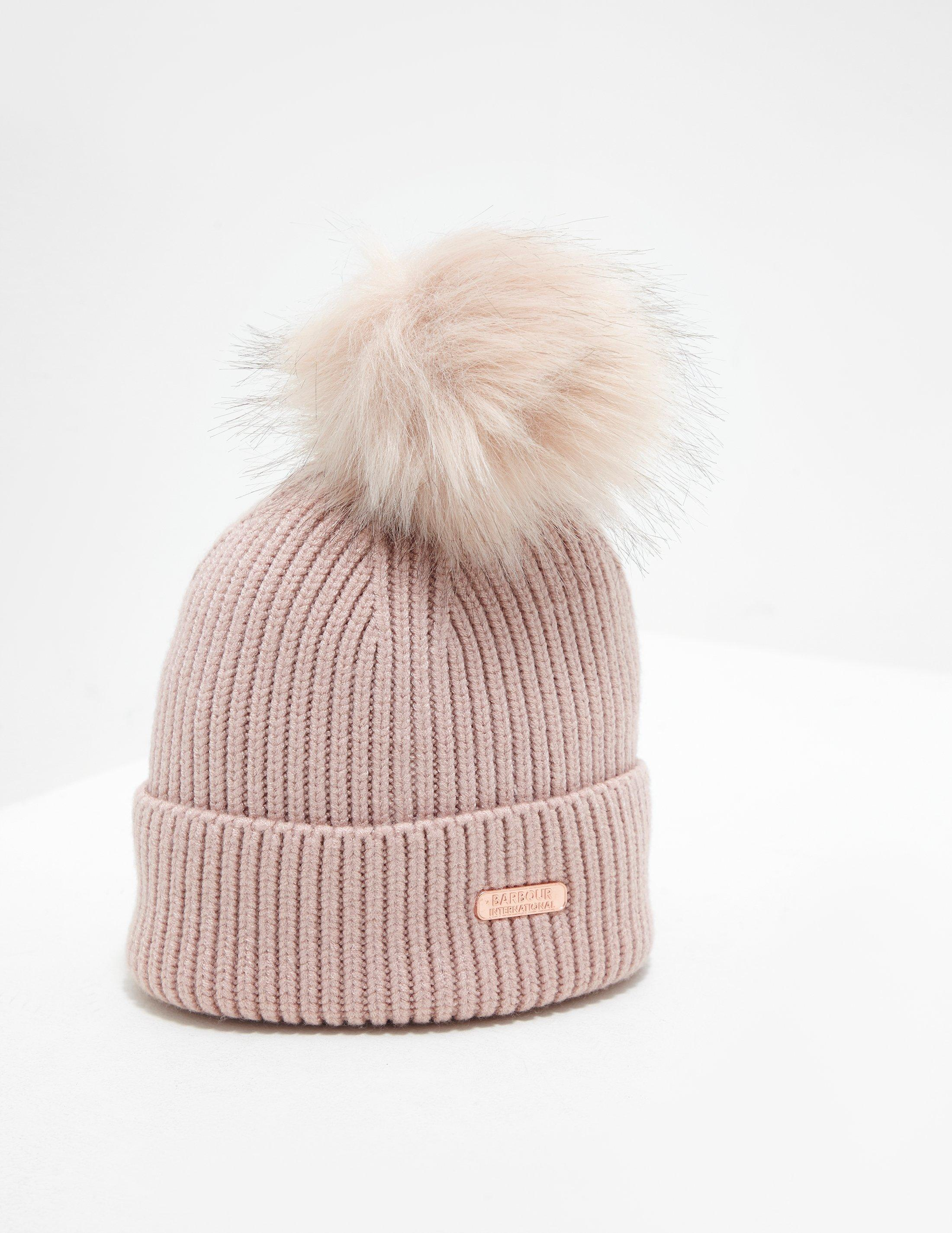 Lyst - Barbour Womens Mallory Pompom Beanie Pink in Pink d338cad1d27