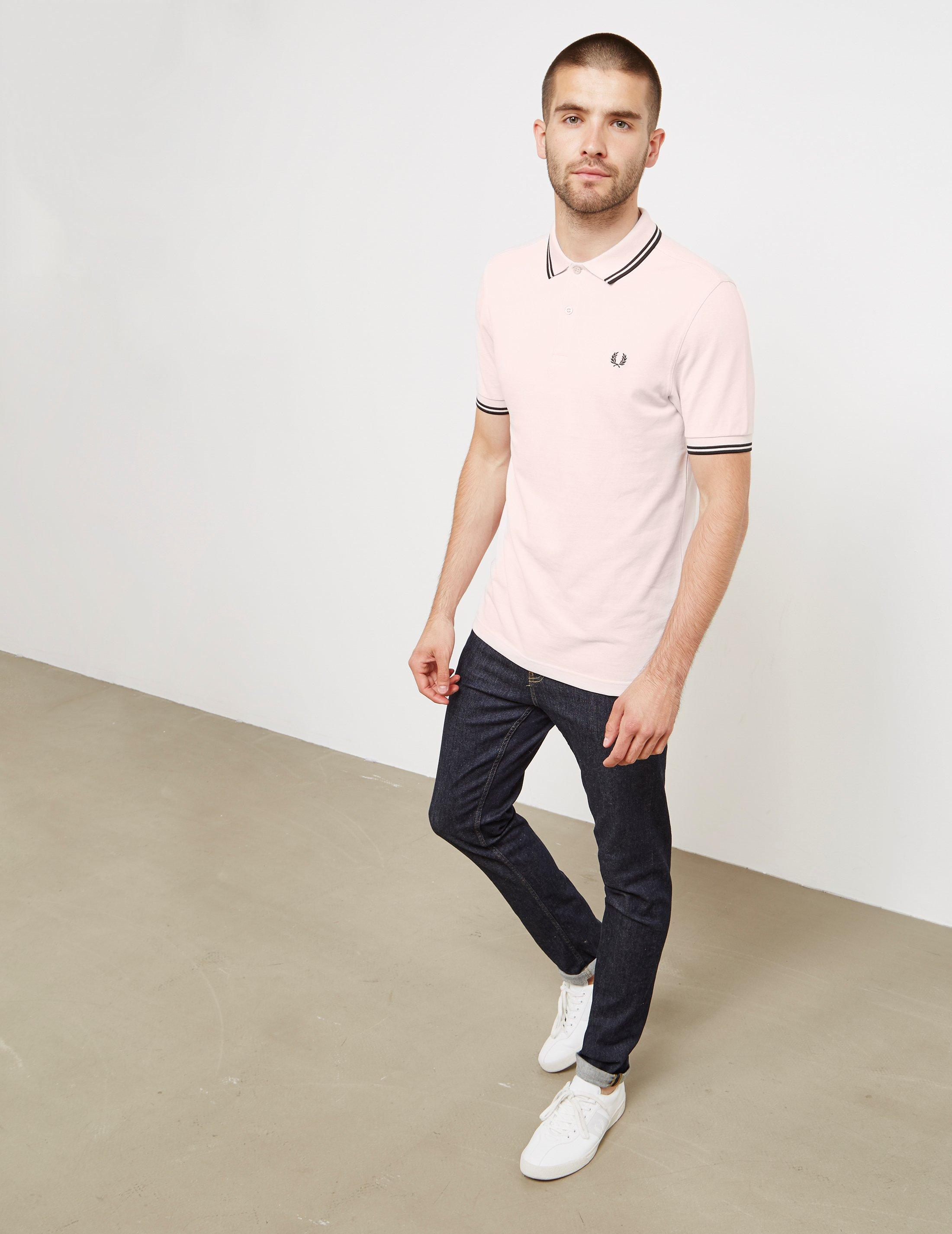 Fred Perry. Mens Twin Tipped Short Sleeve Polo Shirt Pink