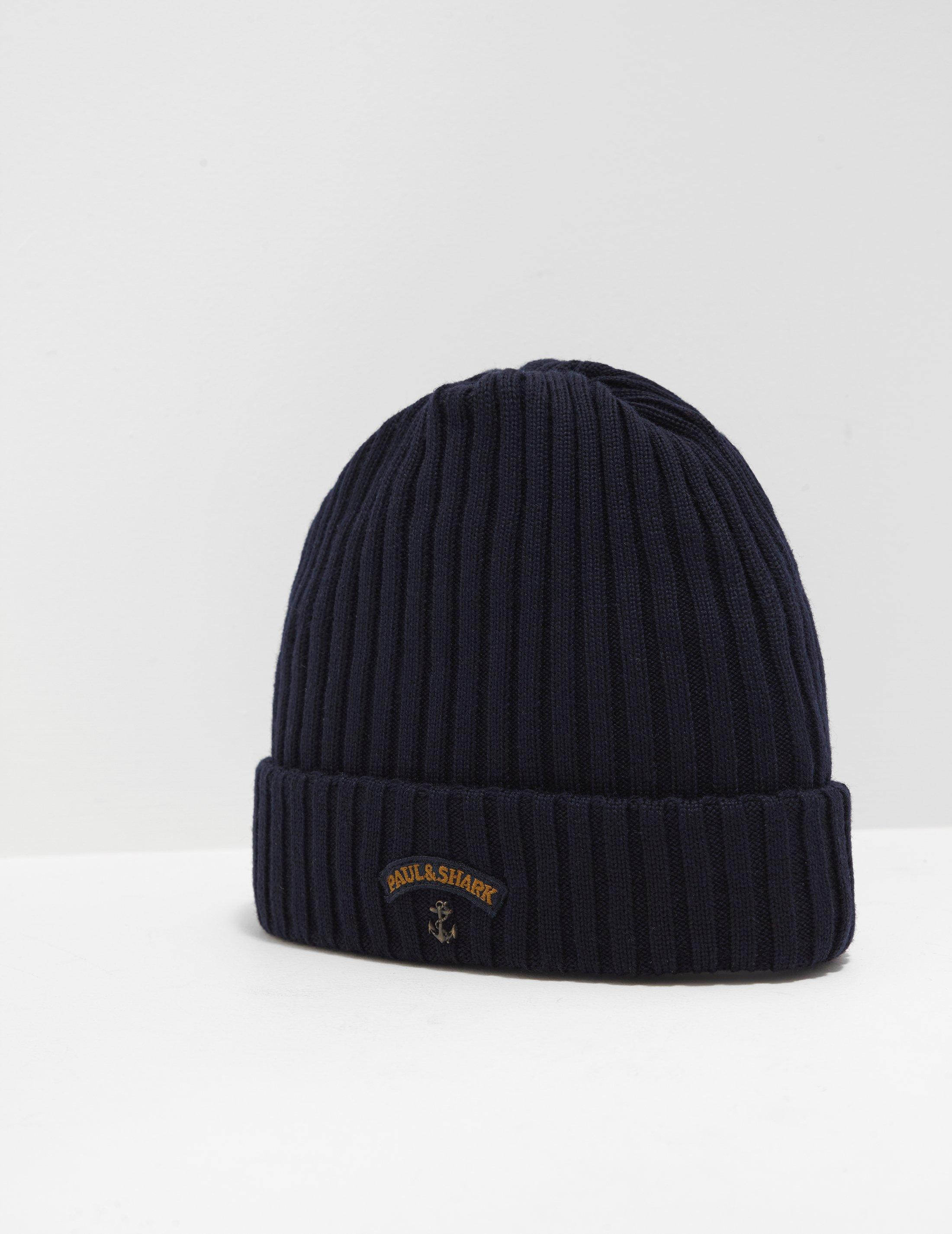 d2f1ca79647 Lyst - Paul   Shark Mens Ribbed Knitted Logo Beanie Navy Blue in ...