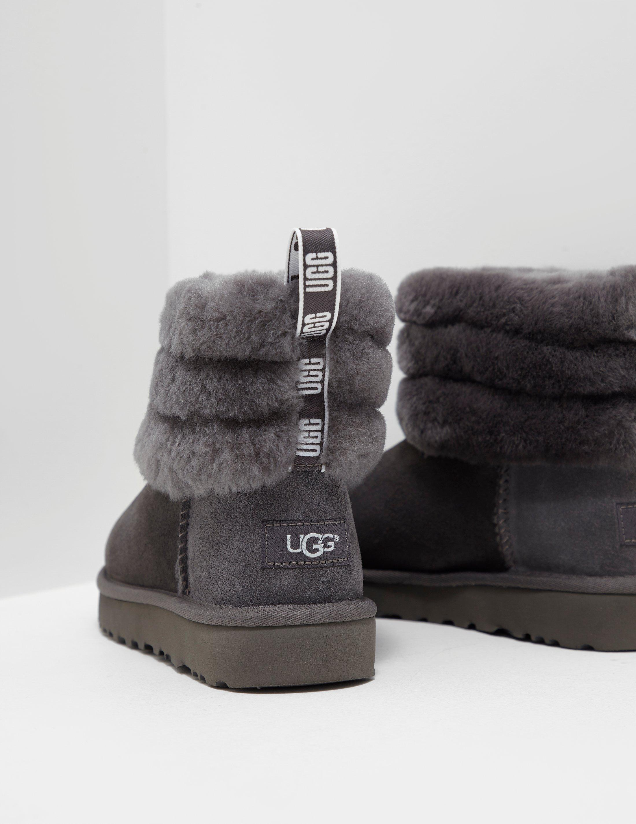 Lyst - UGG Womens Fluff Mini Quilted Logo Boots Women s Grey in Gray 0a9fded16