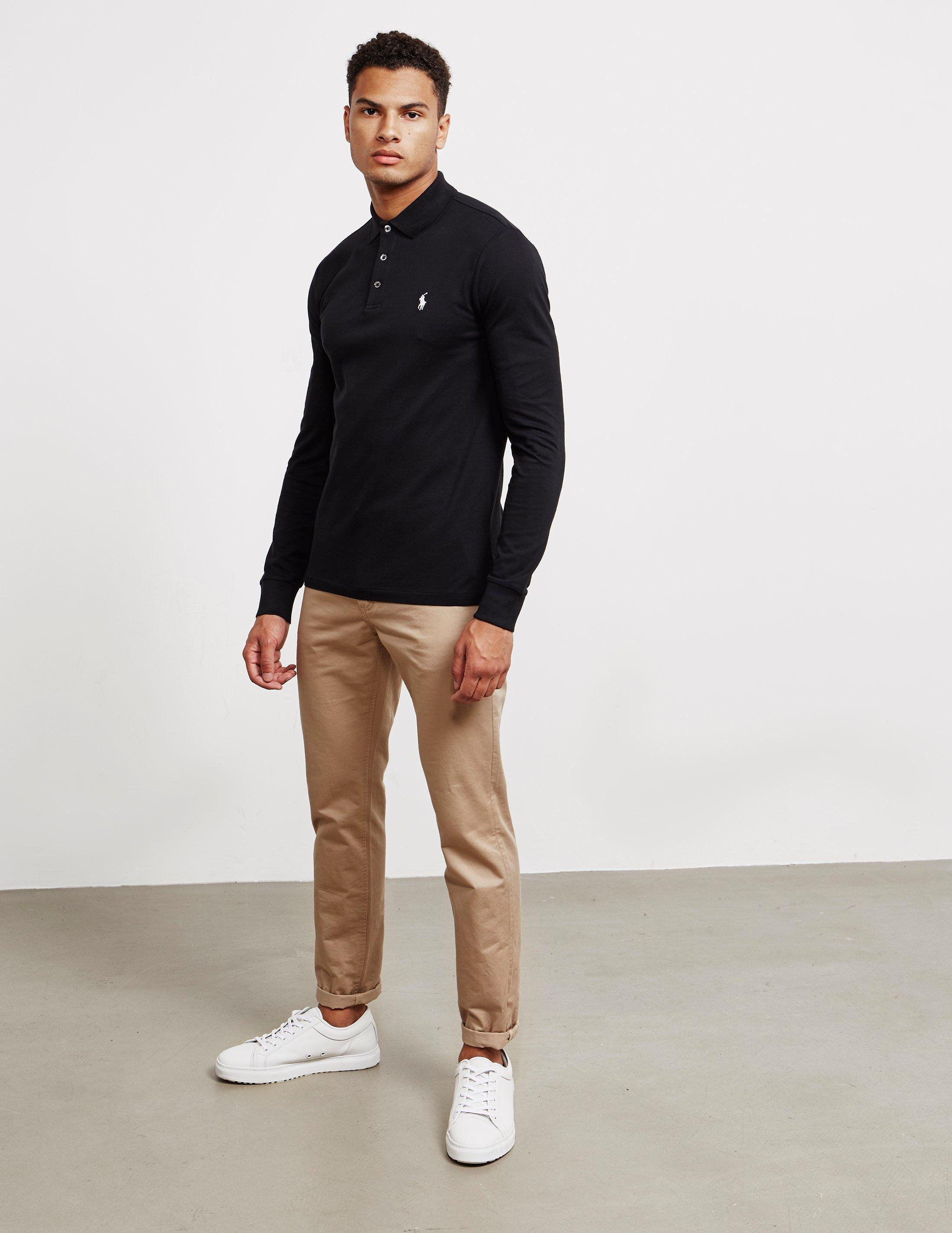 103d041ad733 Polo Ralph Lauren Stretch Long Sleeve Polo Shirt Black in Black for Men -  Save 35% - Lyst