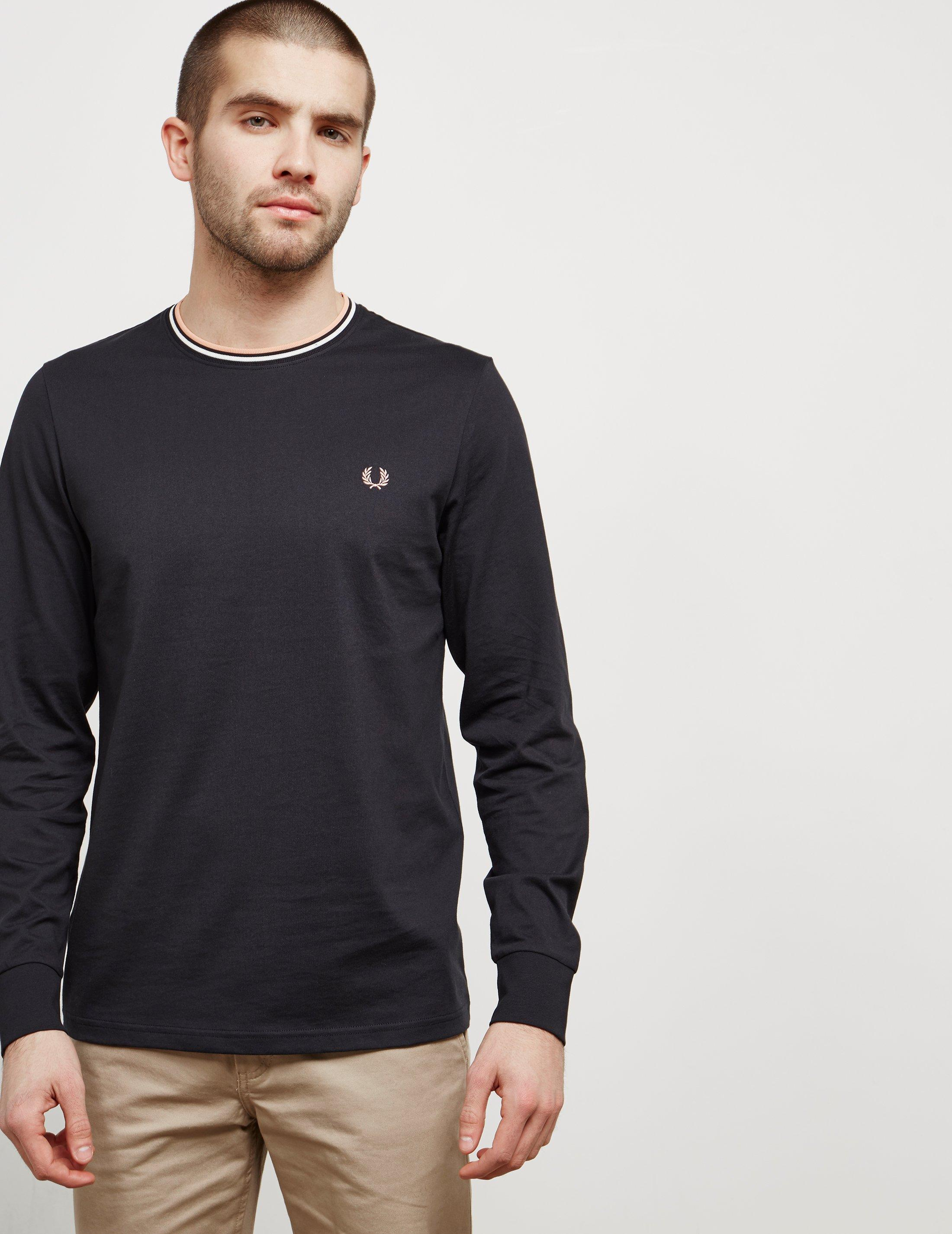 Lyst fred perry mens tipped long sleeve t shirt for Fred perry mens shirts sale