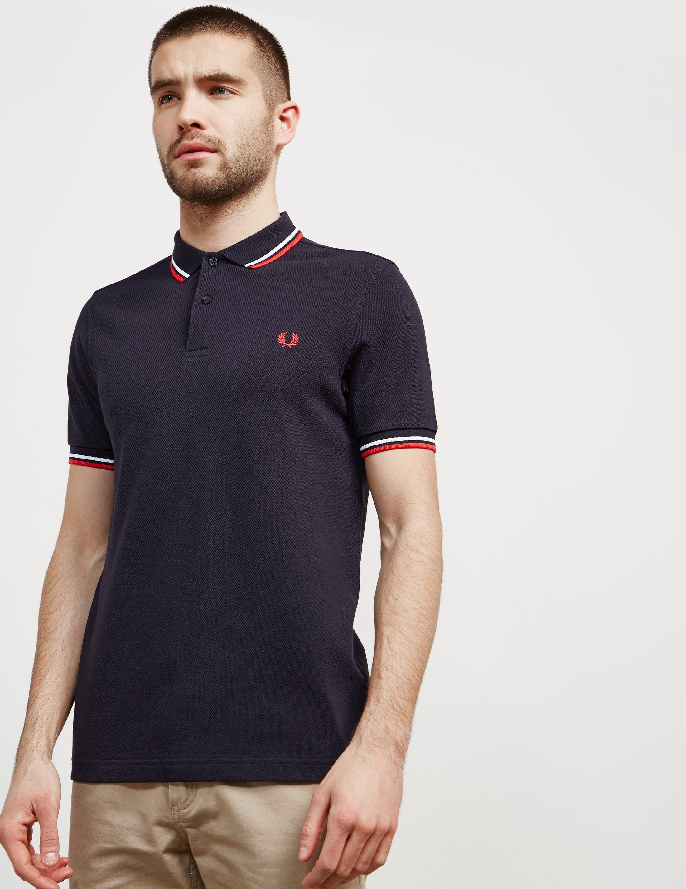 4b9295d83 Fred Perry Twin Tipped Short Sleeve Polo Shirt Dark Navy white red ...