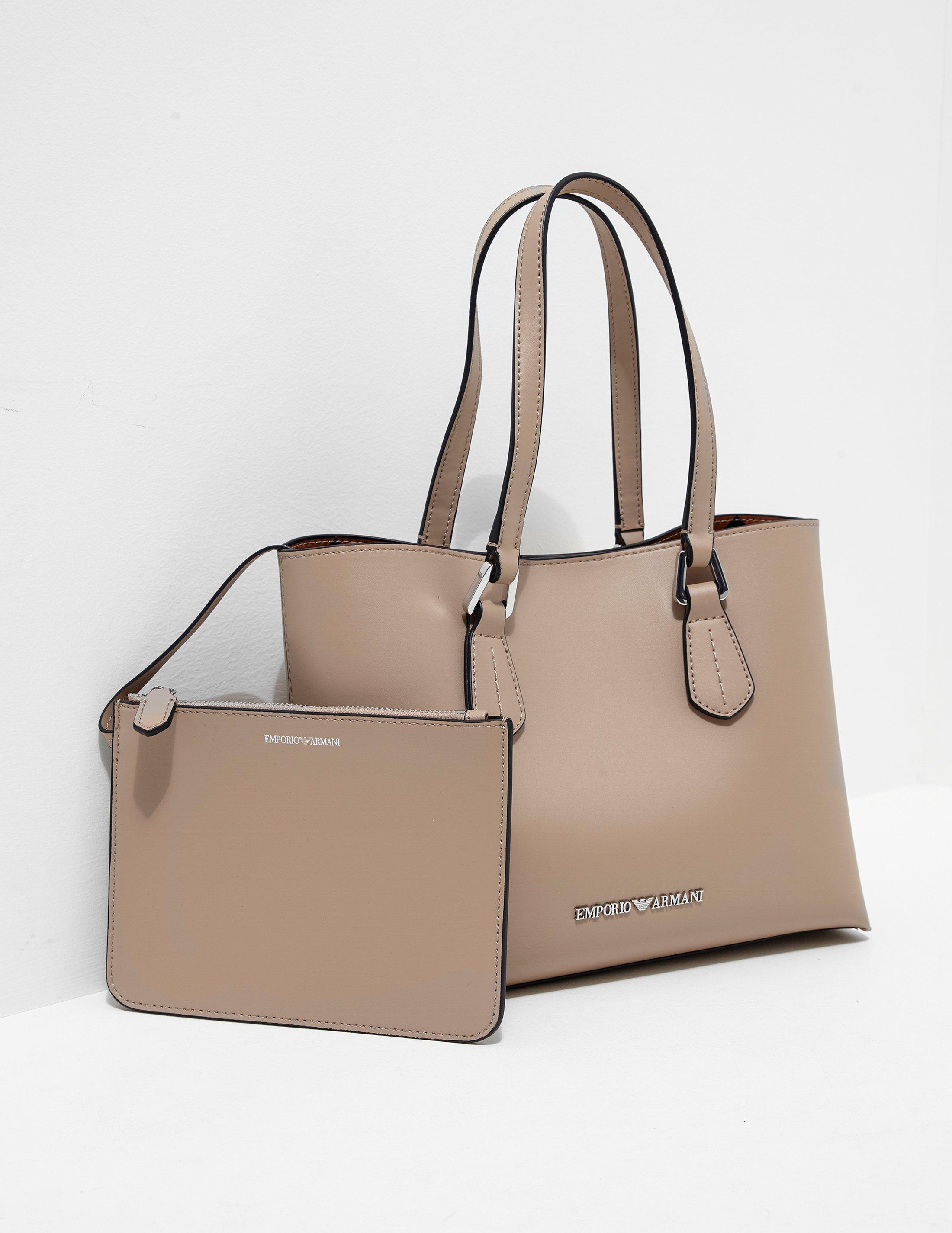 Emporio Armani Womens Wilma Medium Shopper Bag Beige in Natural - Lyst 5047cec43764c