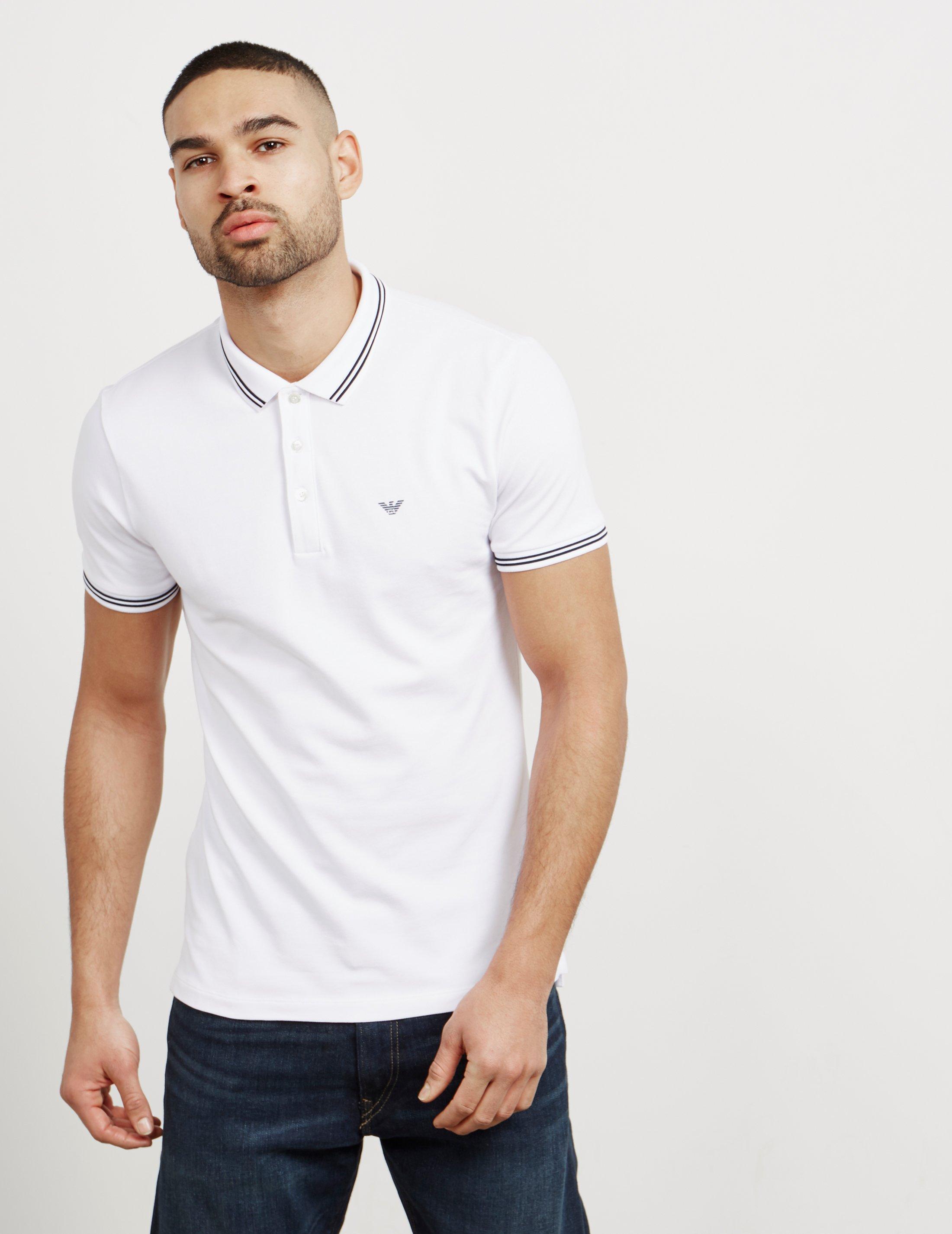 10683fa4 Emporio Armani Mens Basic Tipped Short Sleeve Polo Shirt White in ...