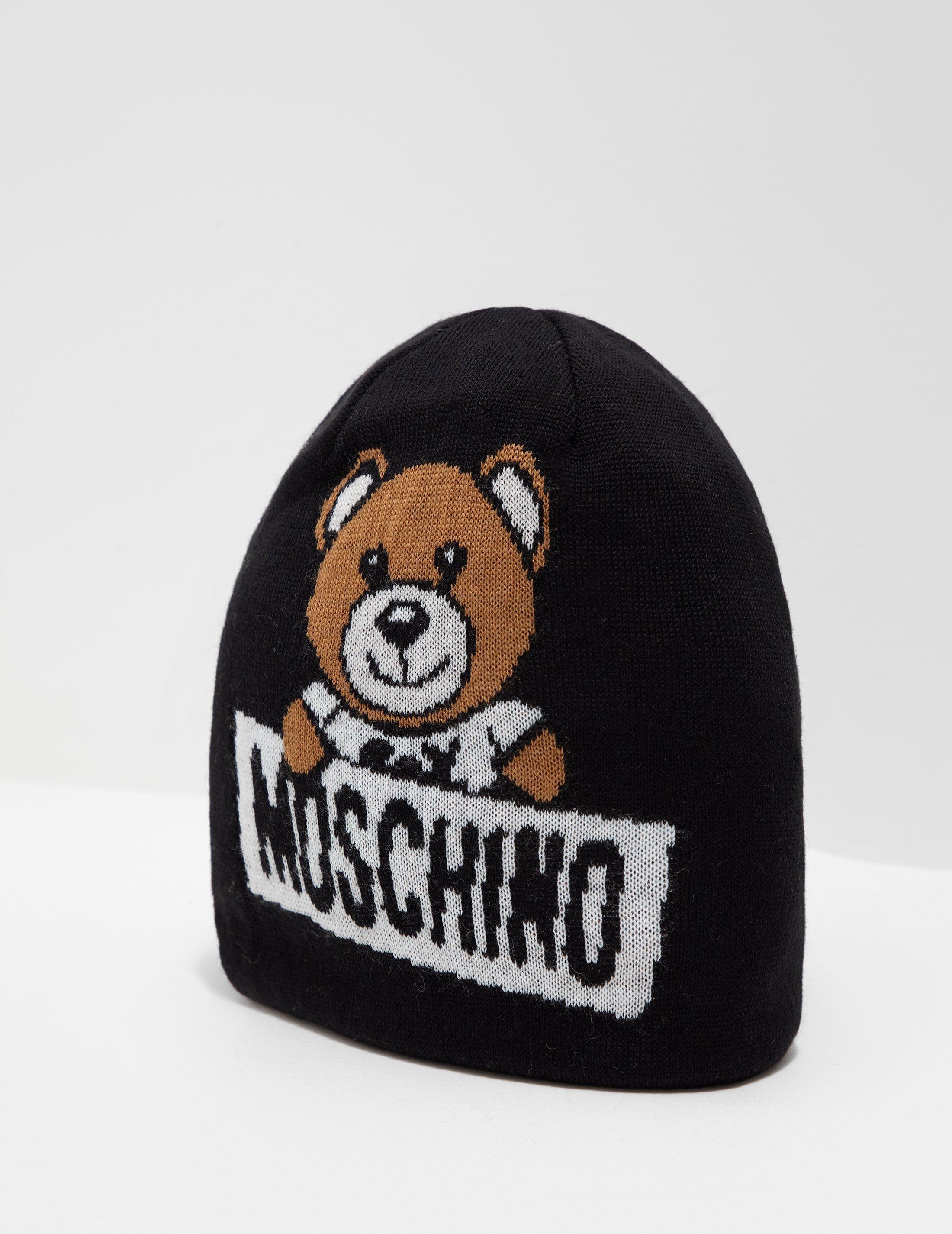 Moschino Womens Logo Bear Beanie Black in Black - Lyst 7f6e8f1e52fc