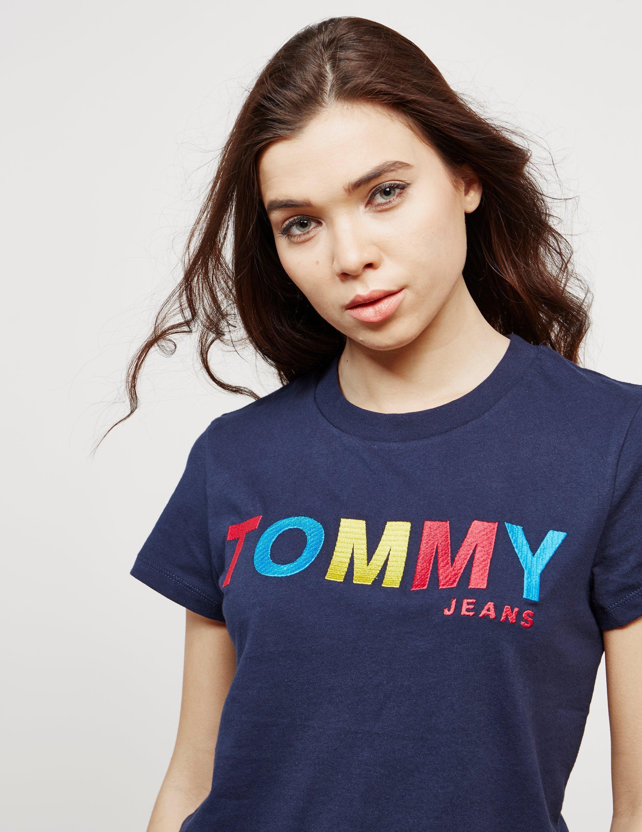 129825f50b96 Tommy Hilfiger Logo Short Sleeve T-shirt Navy Blue in Blue - Lyst