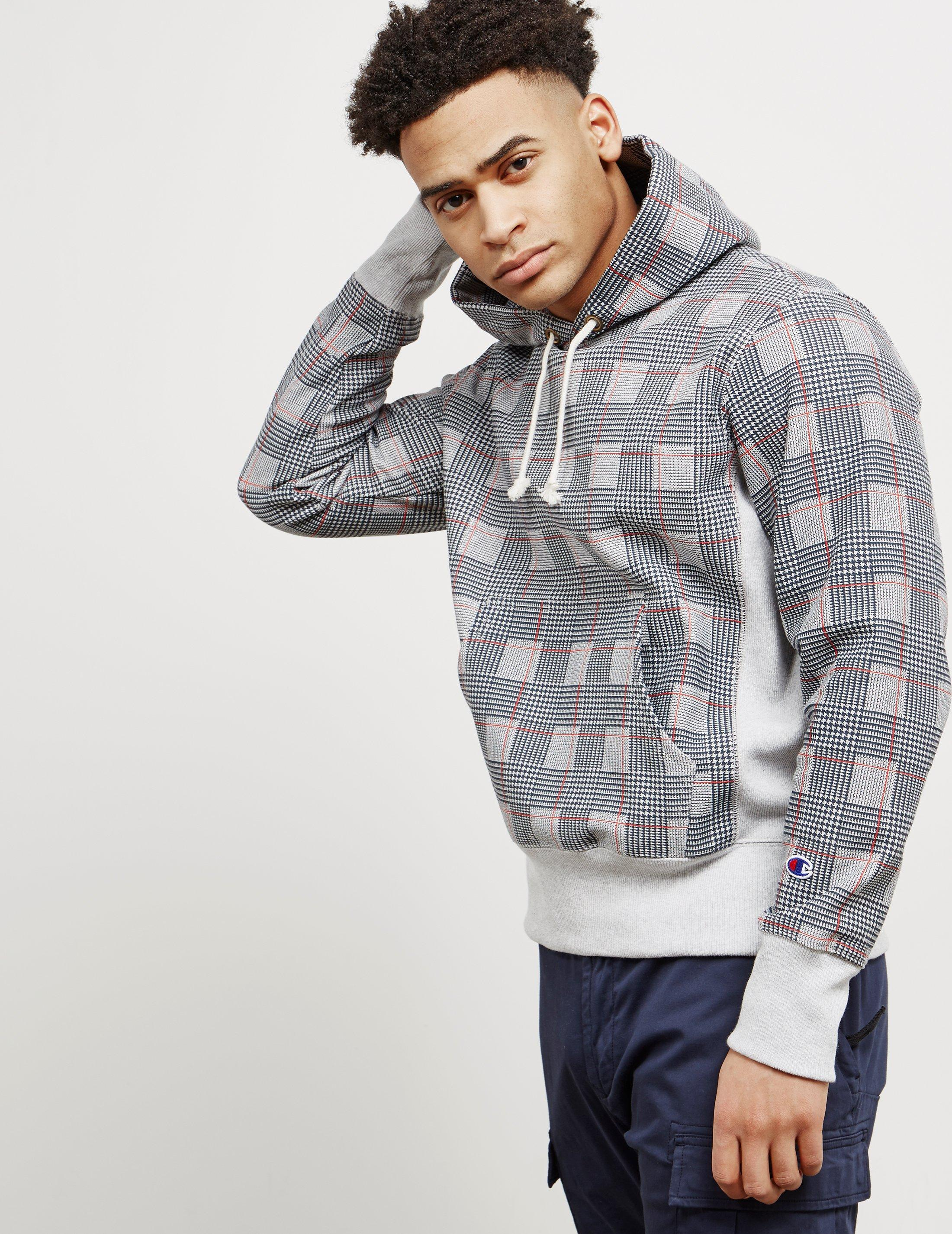 52e77ed73 Lyst - Champion Mens All Over Check Print Hoodie Grey in Gray for Men