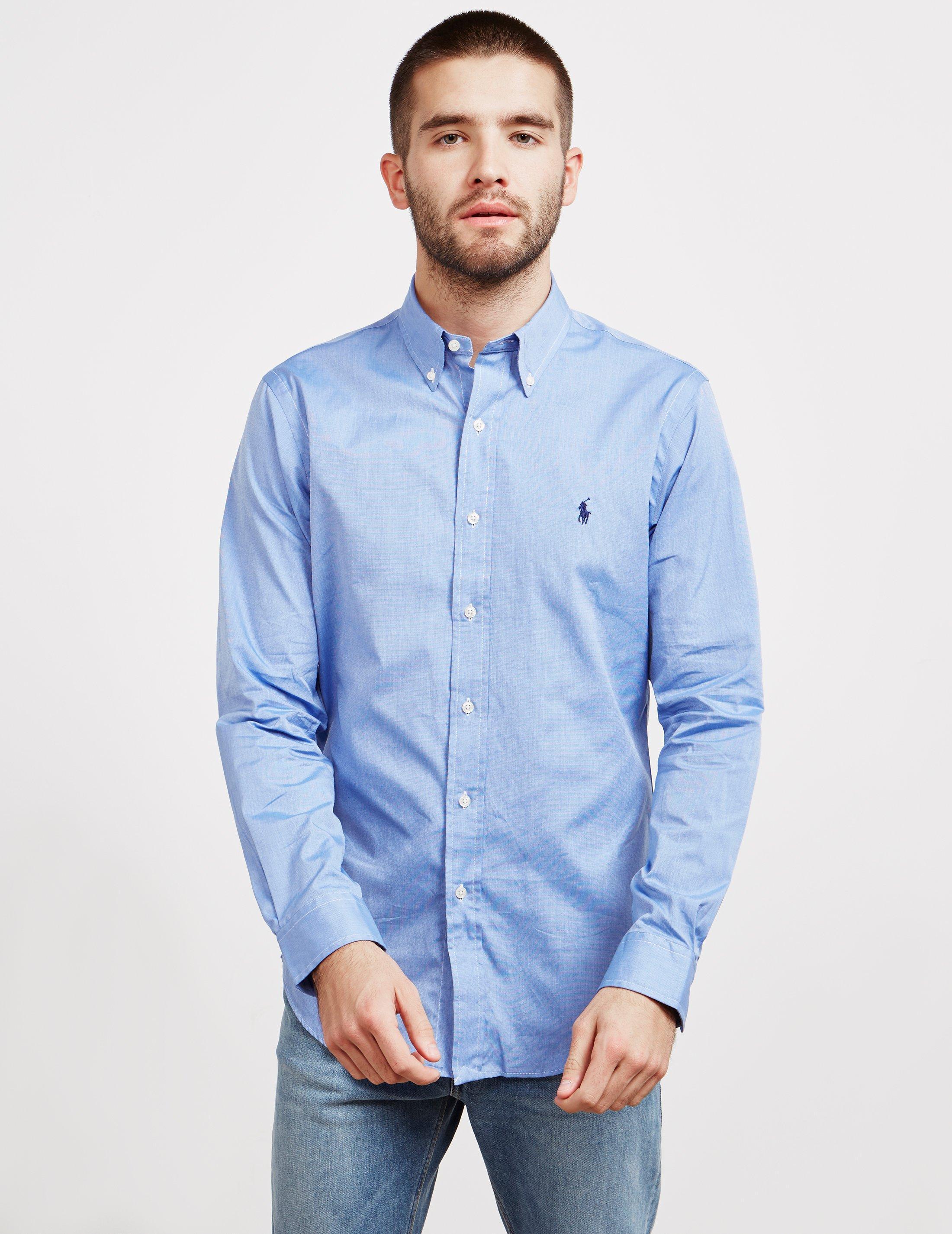96b09826a0b15 Lyst - Polo Ralph Lauren Mens Poplin Slim Long Sleeve Shirt Blue in ...