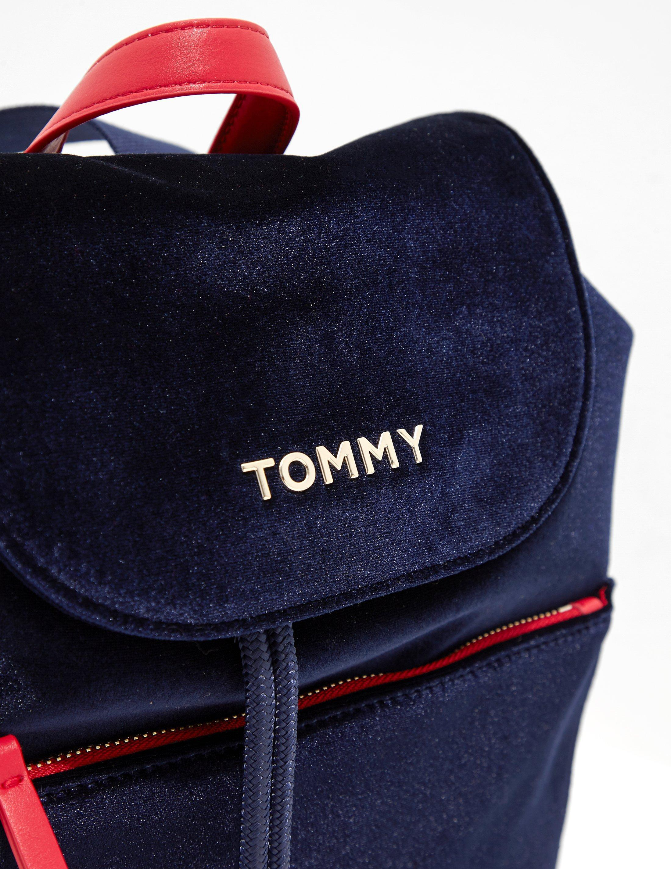 91aa03752ba Tommy Hilfiger Womens Cool Tommy Velvet Backpack Navy Blue in Blue ...