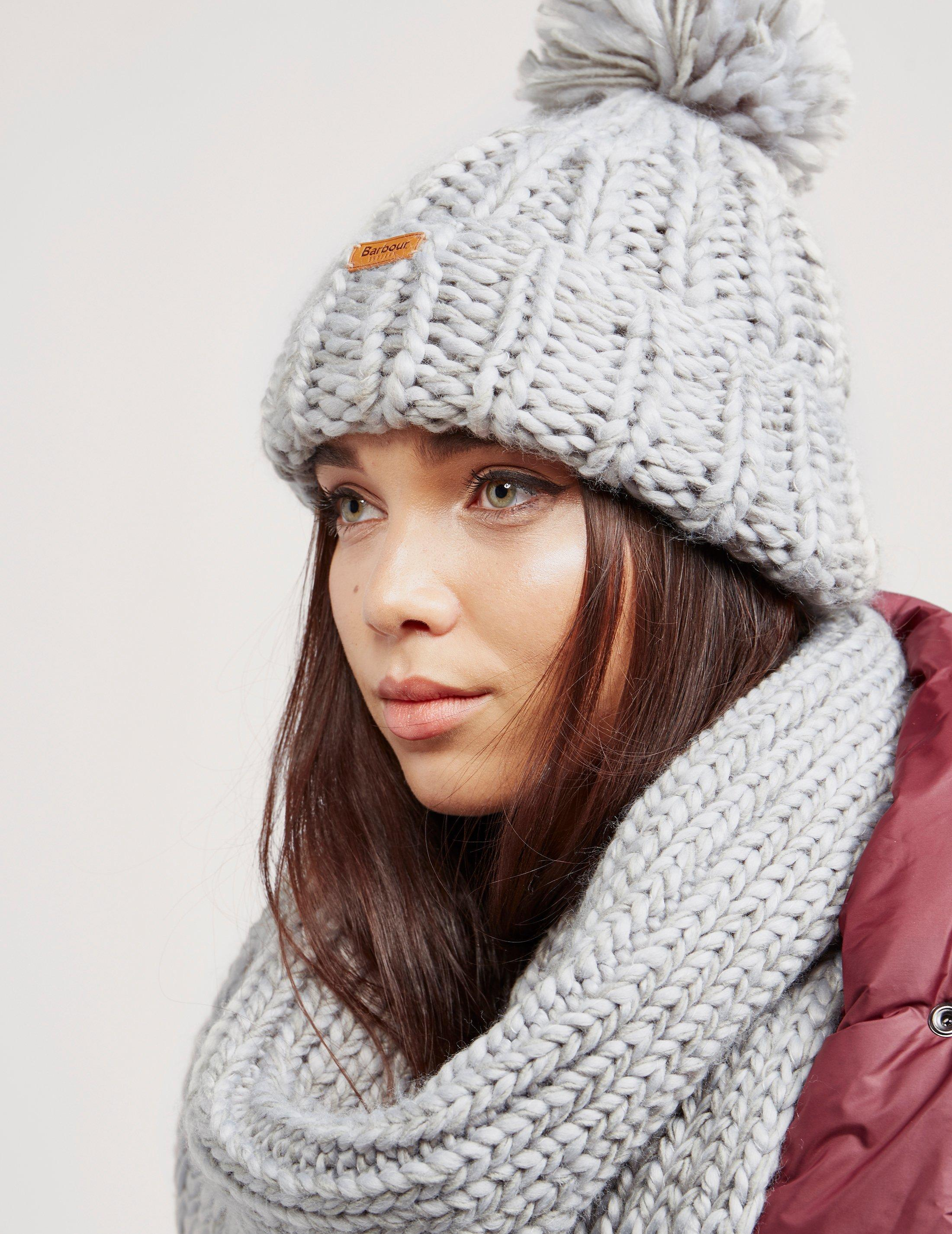 Lyst - Barbour Womens Chunky Hat And Scarf Set Grey in Gray b18f5499a08